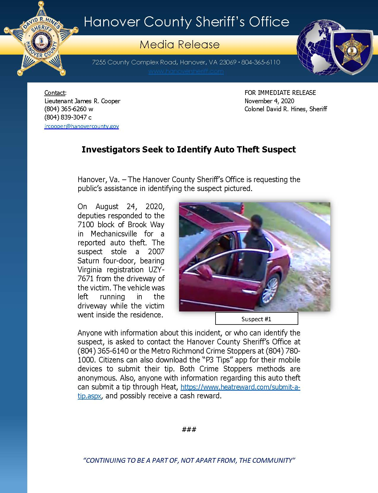 HCSO Media Release - Investigators Seek to Identify Auto Theft Suspect_11.4.20