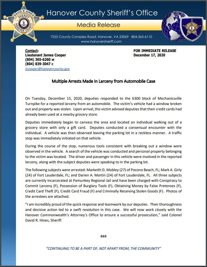 HCSO Media Release - Arrest Made in Larceny from Autos_12.17.20 00000002_Page_1