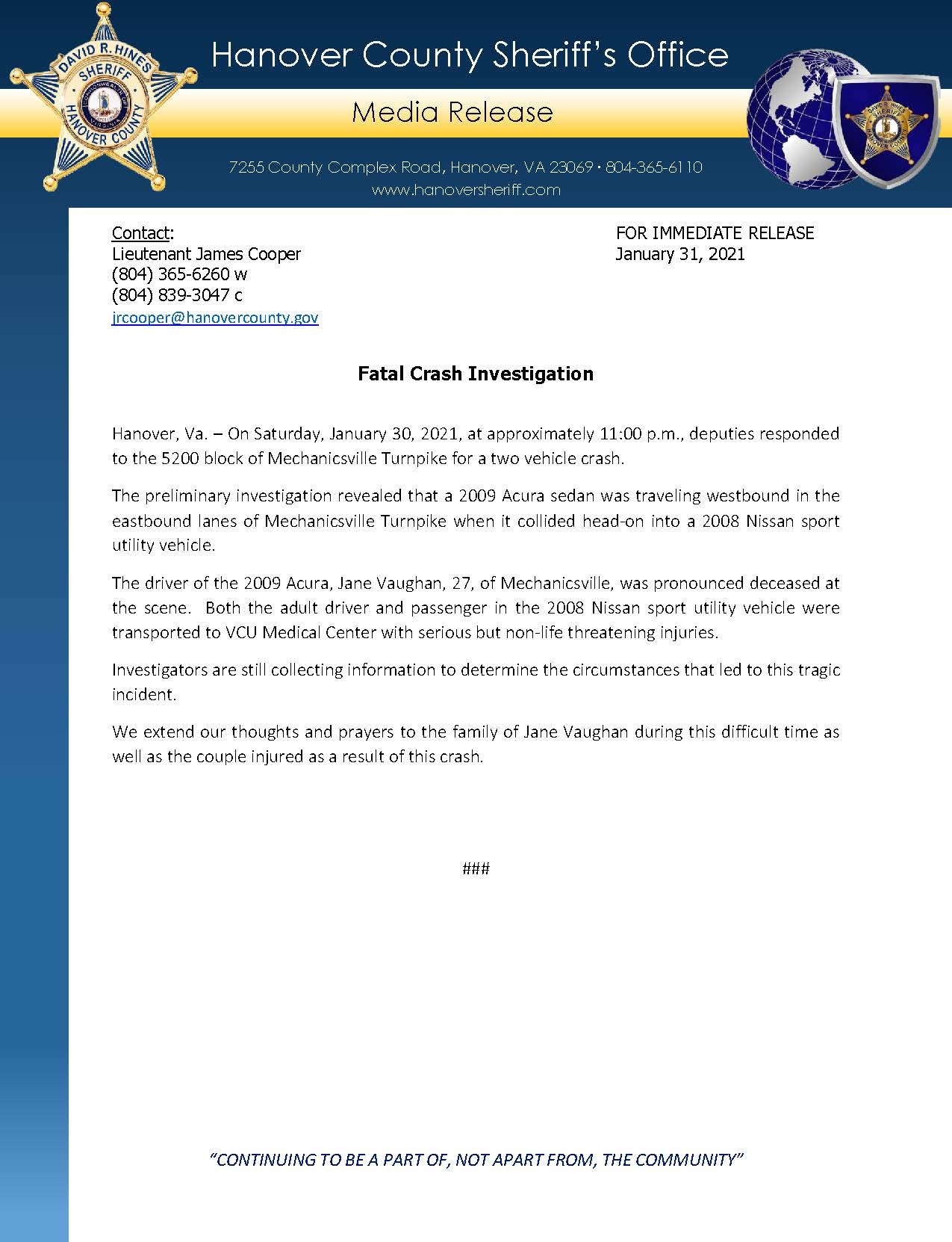 HCSO Media Release - Fatal Crash Investigation 1.31.21