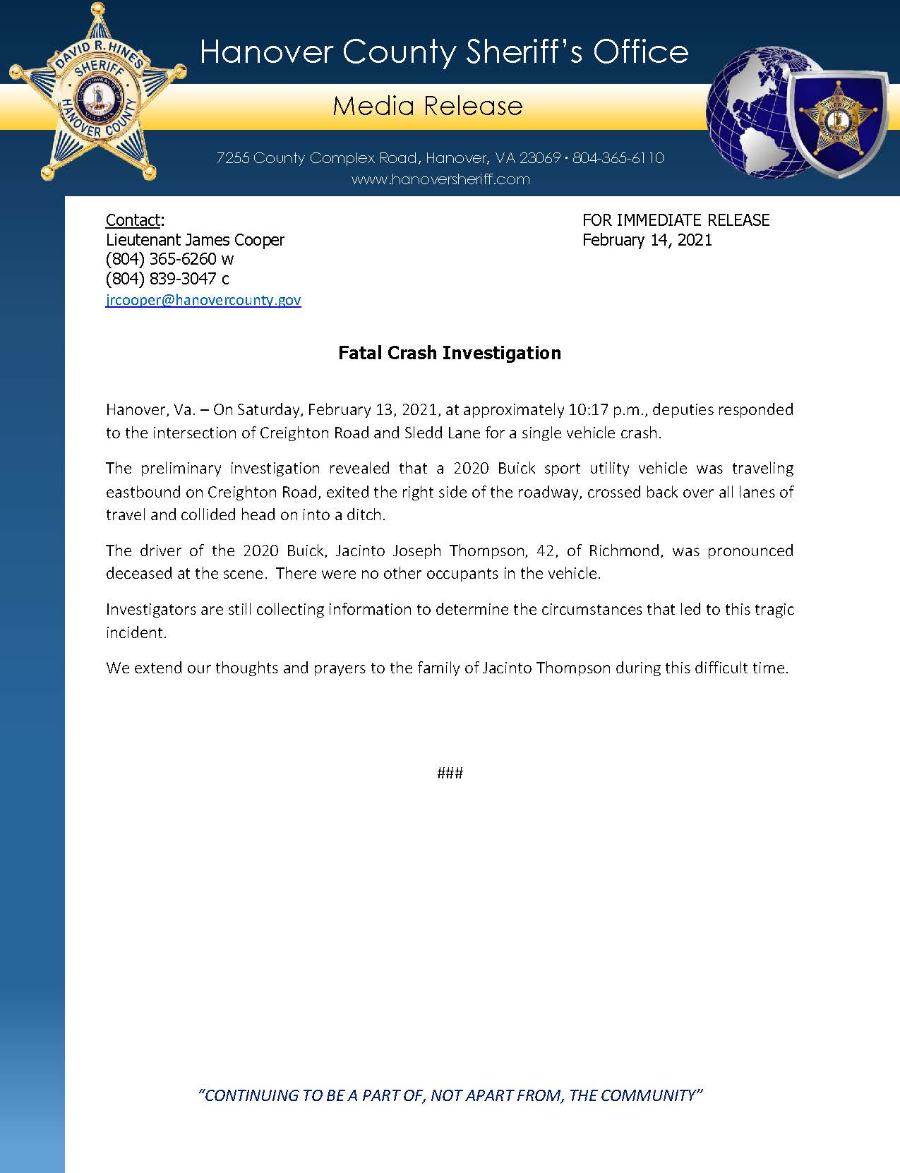 HCSO Media Release - Fatal Crash Investigation 2.14.21
