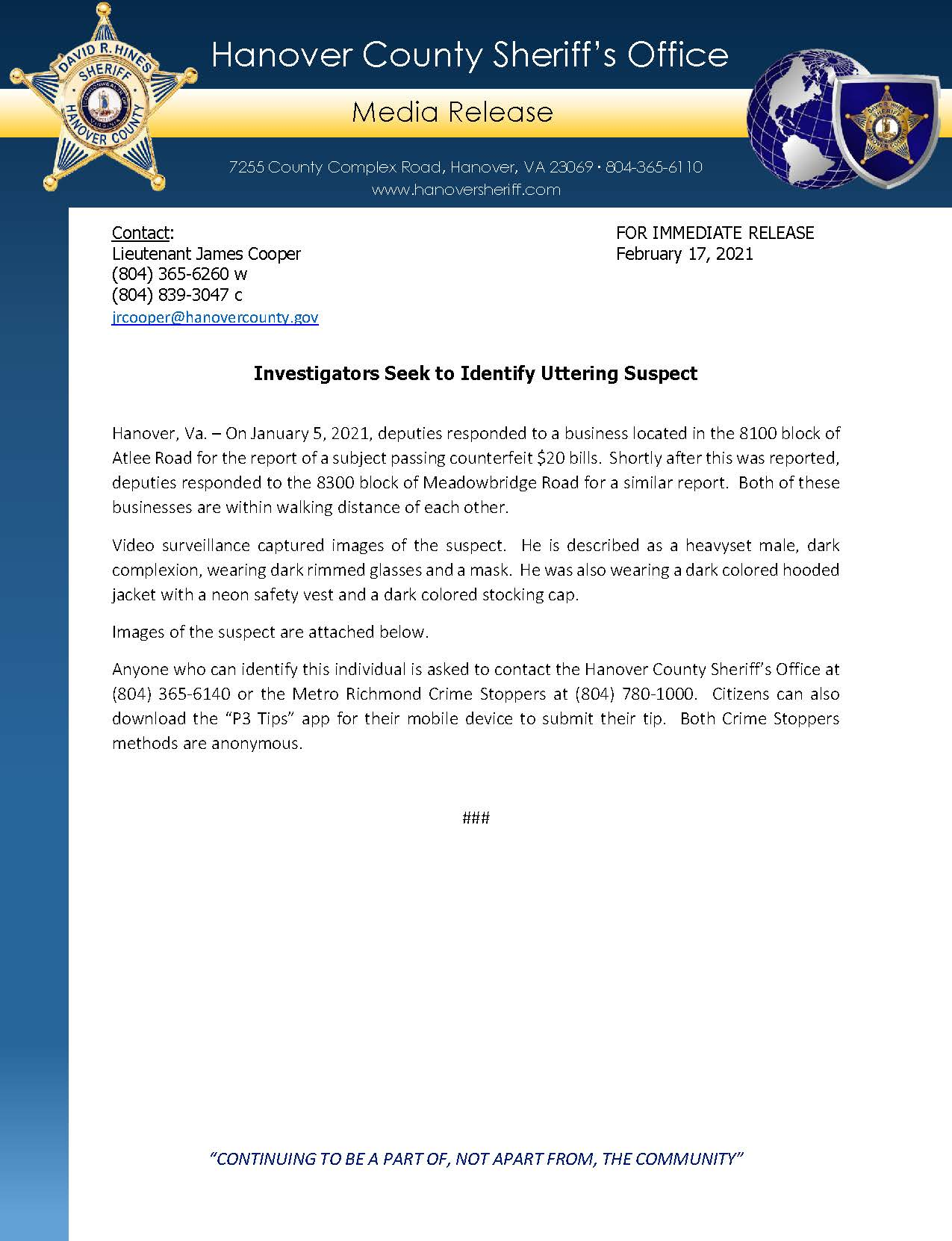 HCSO Media Release - Investigators Seek to Identify Uttering Suspect 2.17.21 Page 1