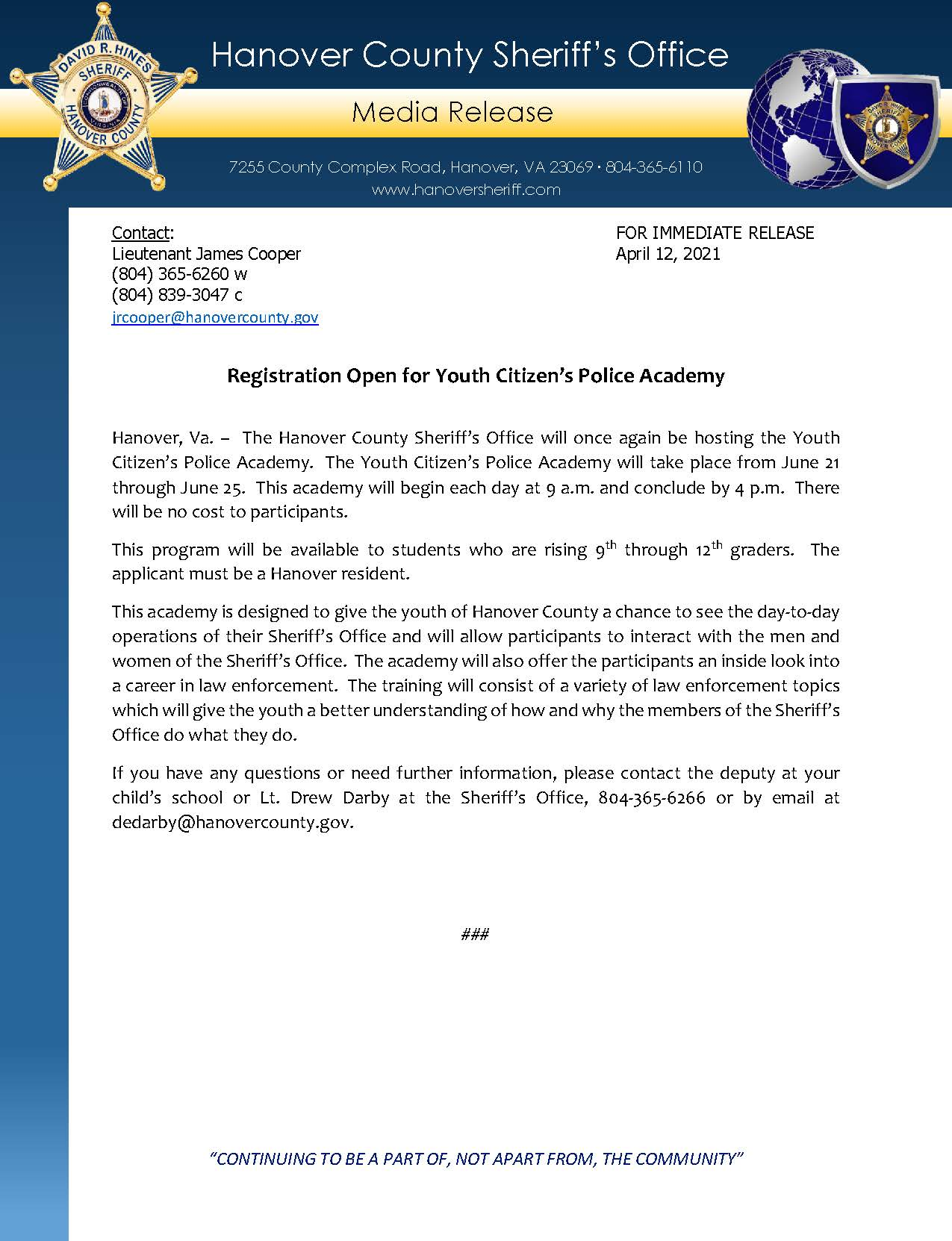 HCSO Media Release - Registration Open for Youth Citizens Police Academy 4.12.21