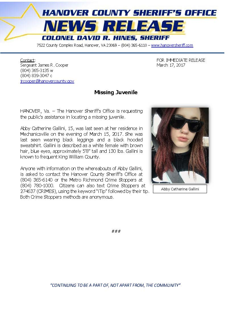 HCSO - Missing Juvenile Abby Gallini_March 2017