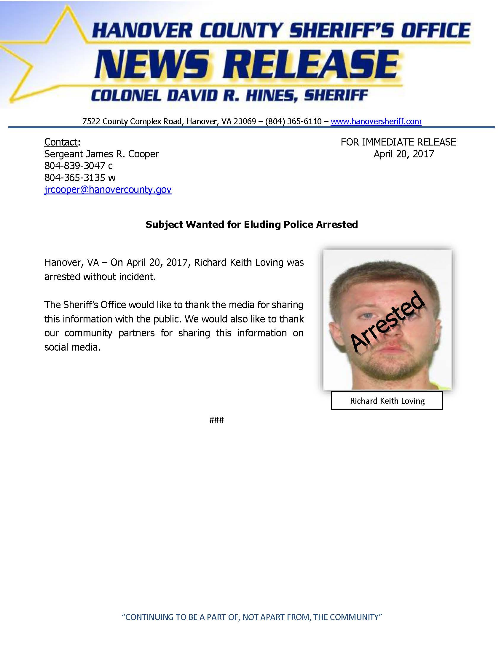 HCSO - Suspect Wanted for Eluding Police ARRESTED- April 2017