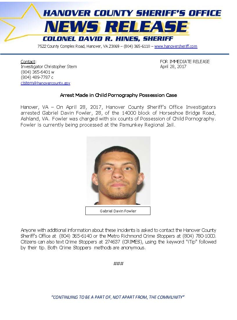 HCSO - Arrest Made Possession of Child Pornography - April 2017