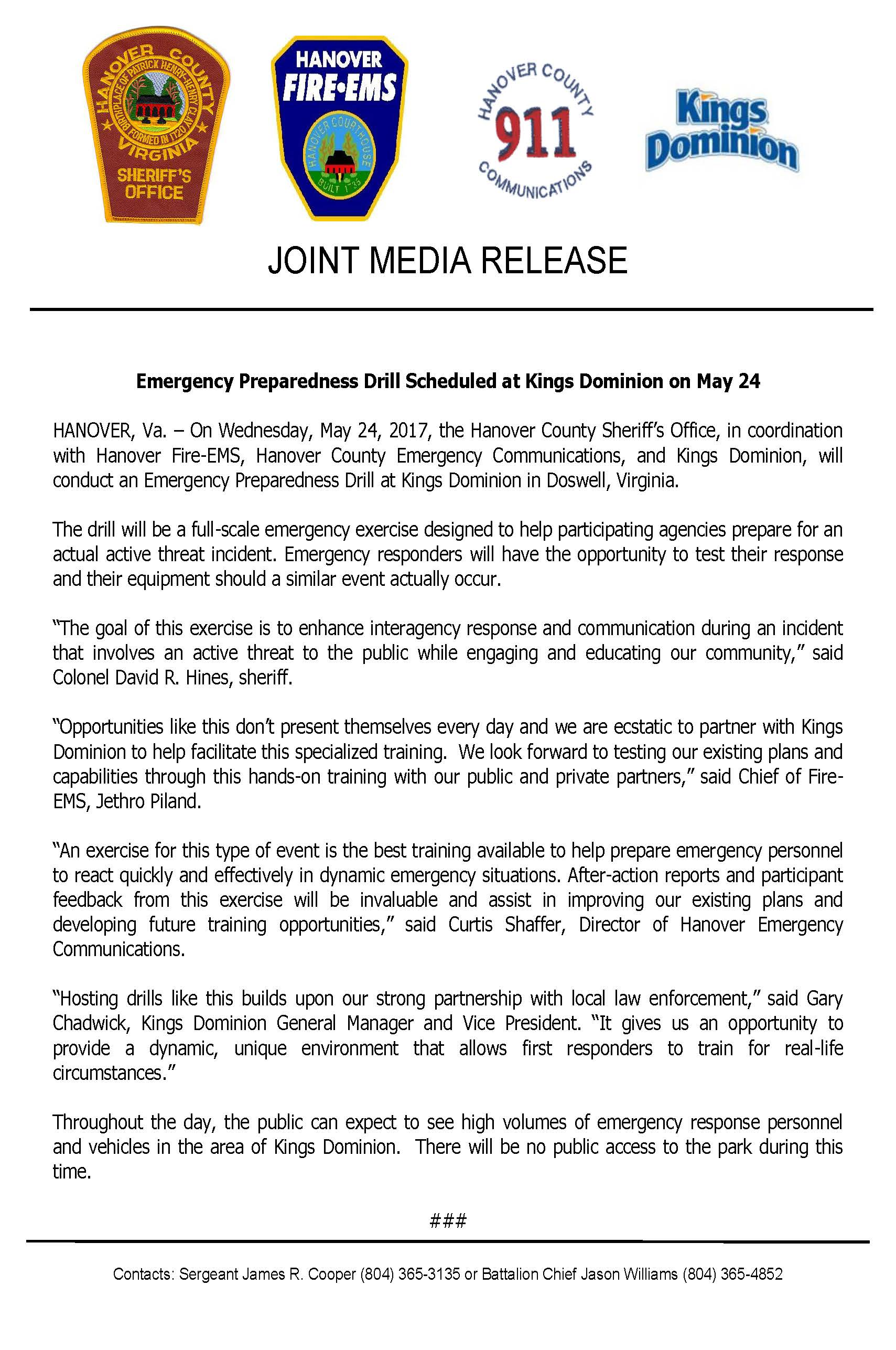 Joint Release- Emergency Preparedness Drill at Kings Dominion- May 24, 2017