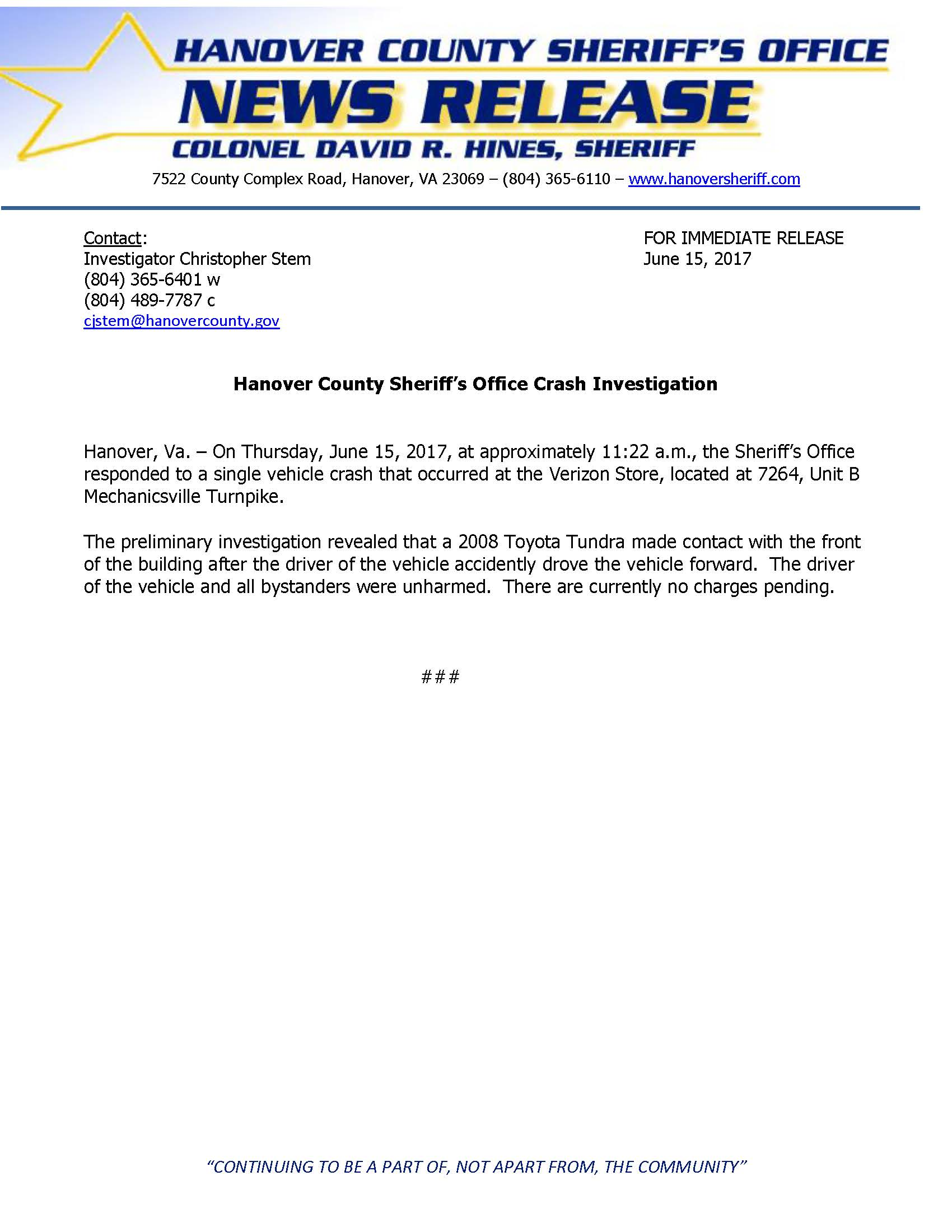HCSO - Crash Investigation- Mechanicsville Turnpike