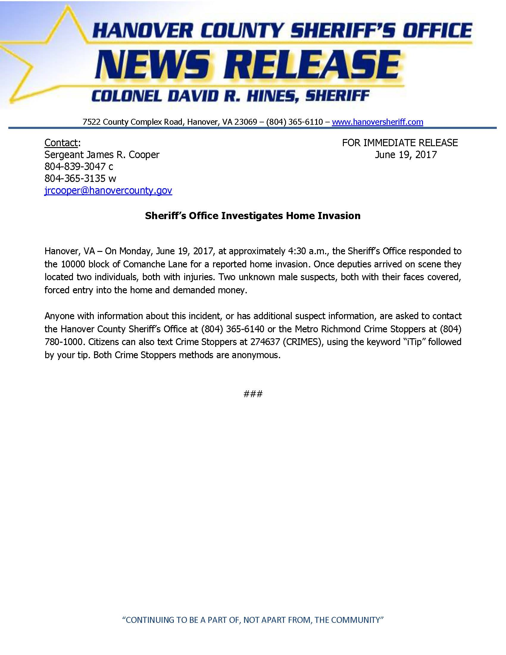 HCSO  Sheriffs Office Investigates Home Invasion June 2017