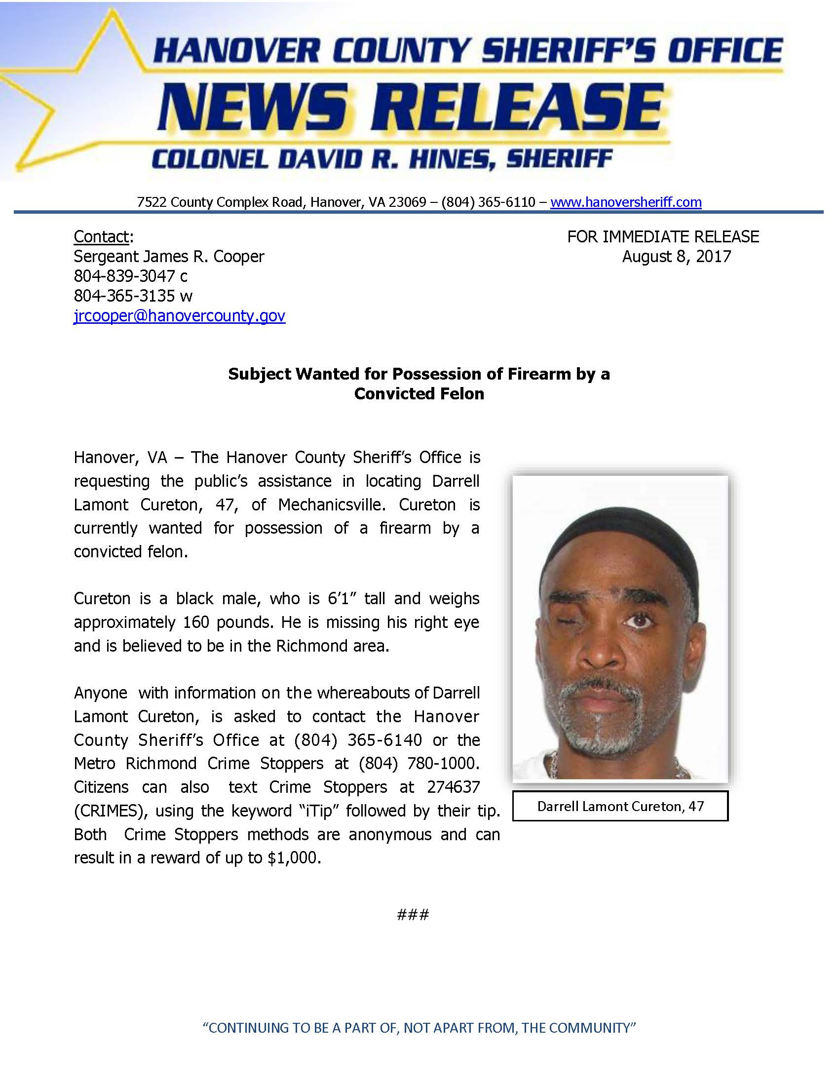 HCSO - Suspect Wanted for Possession of Firearm- August 2017