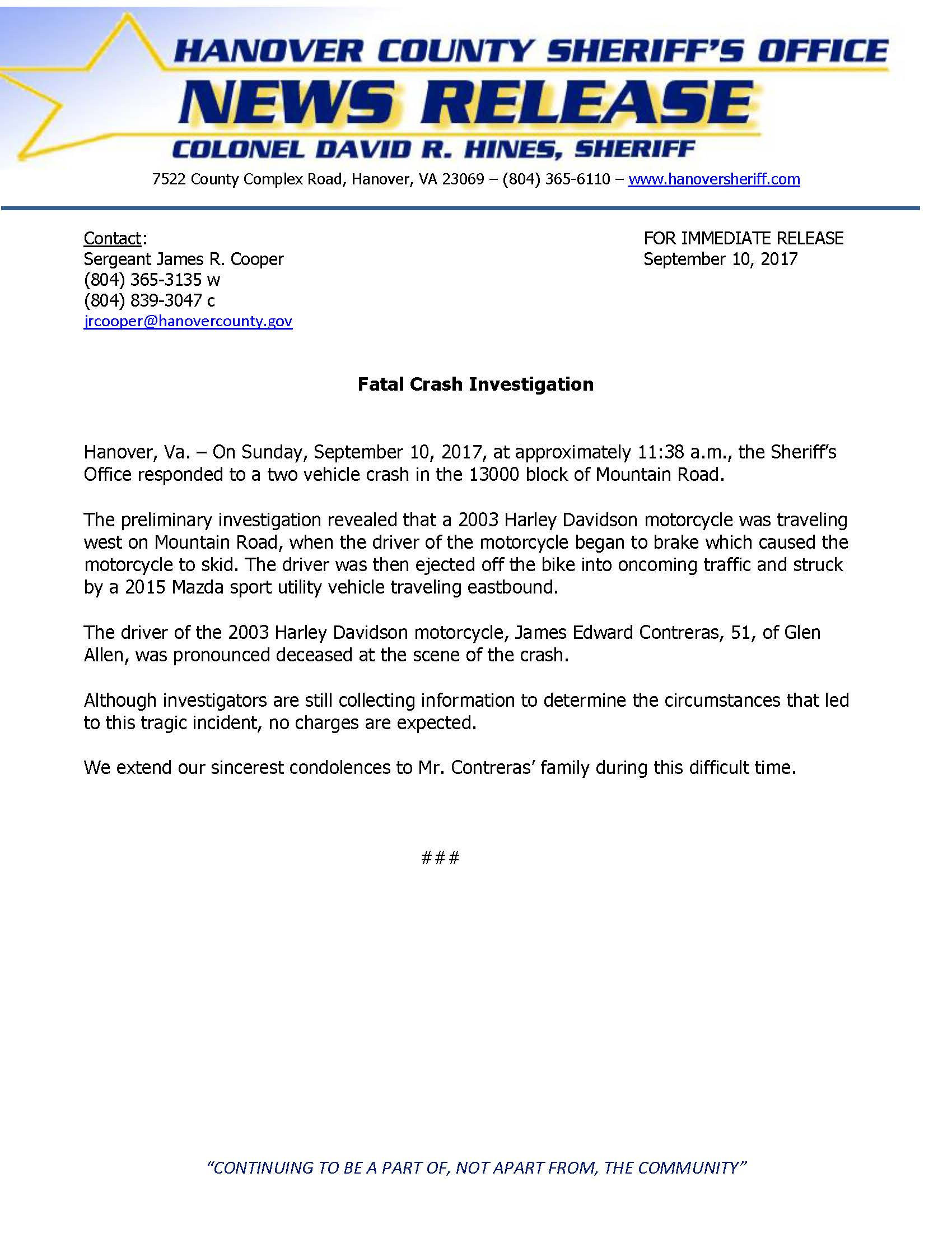 HCSO - Fatal Crash - Mountain Road- September 2017