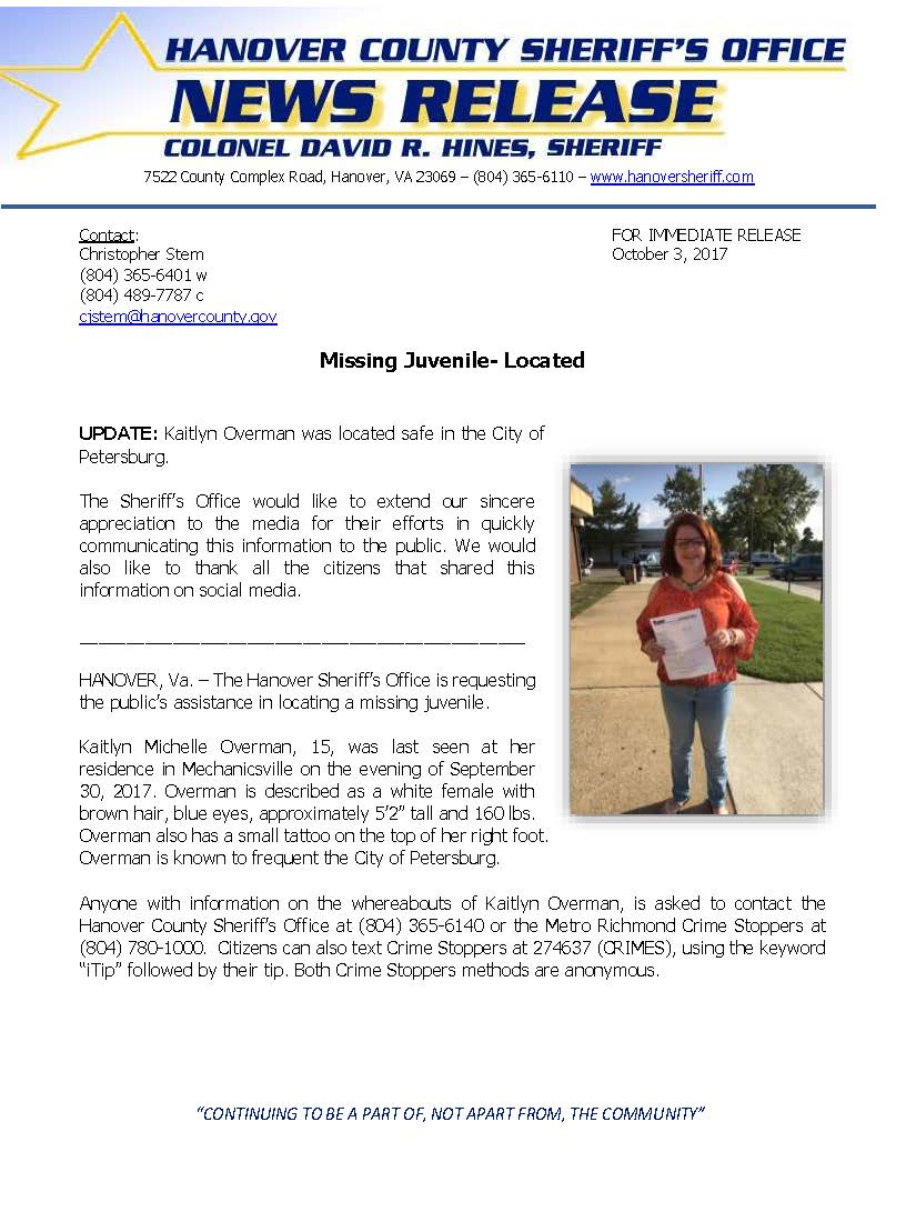 HCSO - Missing Juvenile Kaitlyn Overman_October 2, 2017 LOCATED