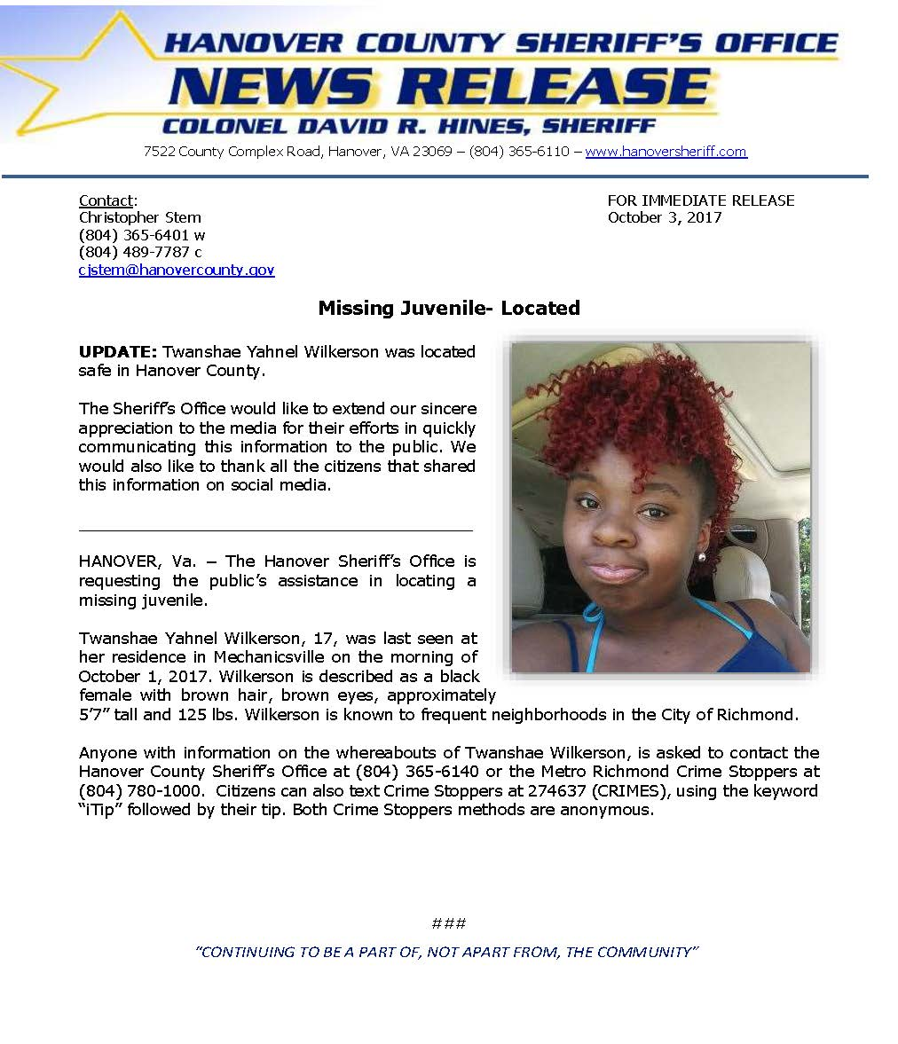HCSO - Missing Juvenile Twanshae Wilkerson_October 2, 2017 LOCATED