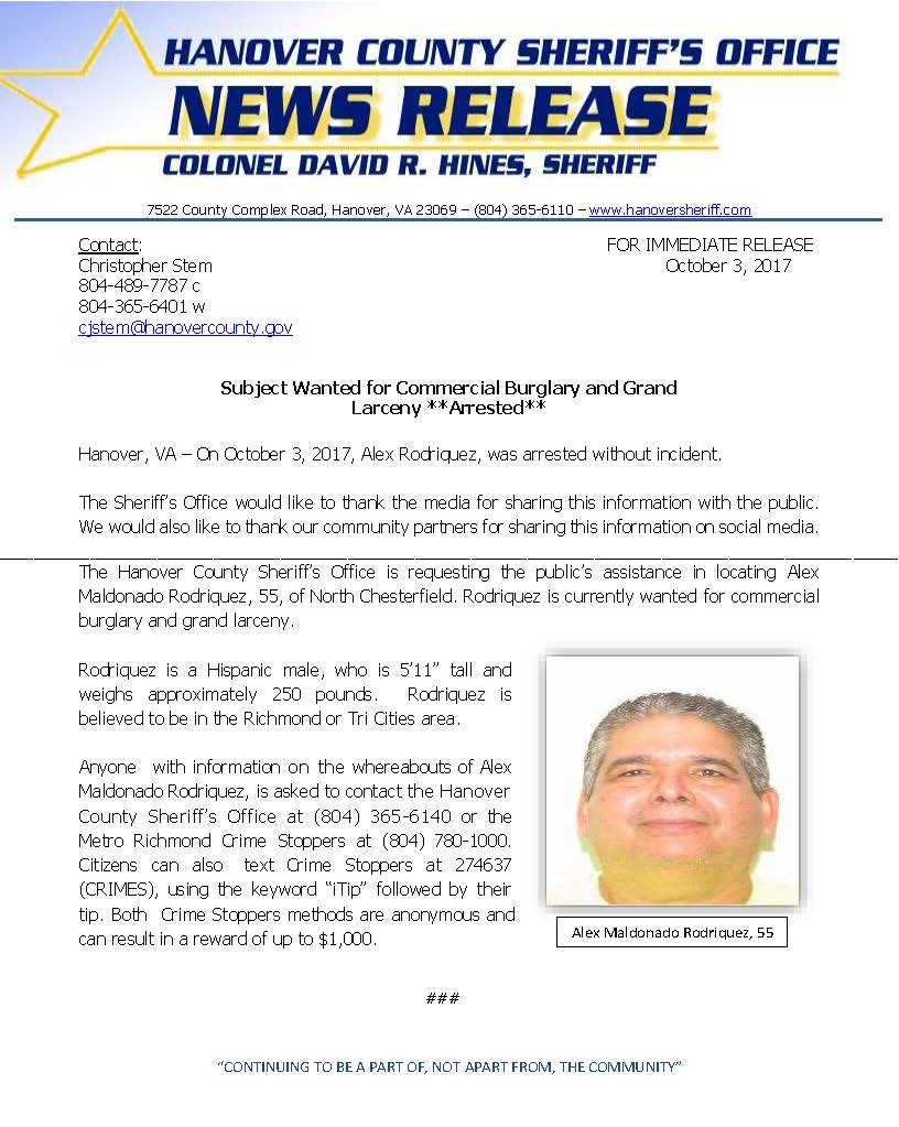 HCSO - Suspect Wanted for Commerical Burlgary- October 2017 ARRESTED