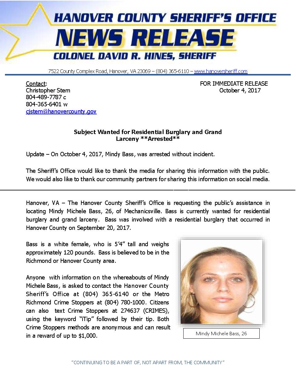 HCSO - Suspect Wanted for Residential Burglary- Mindy Bass- October 2017 ARRESTED