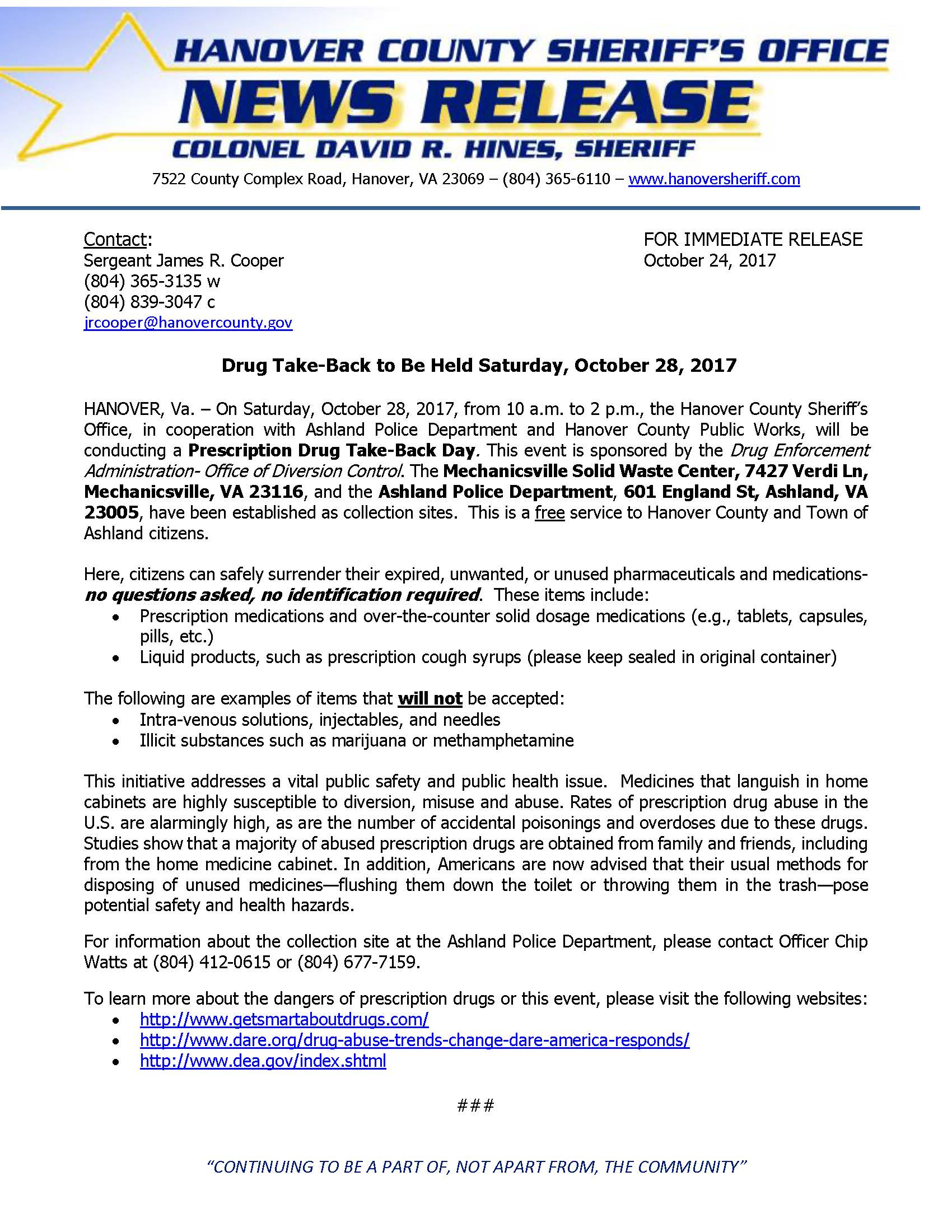 HCSO - Drug take back_10-28-17