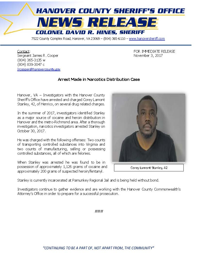 HCSO - Arrest Made in Narcotics Distribution Case- November 3, 2017