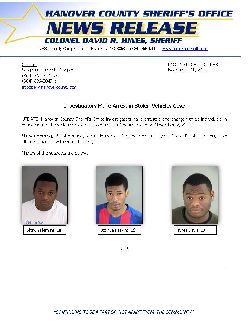 HCSO - Stolen Vehicles- November 3, 2017 UPDATE
