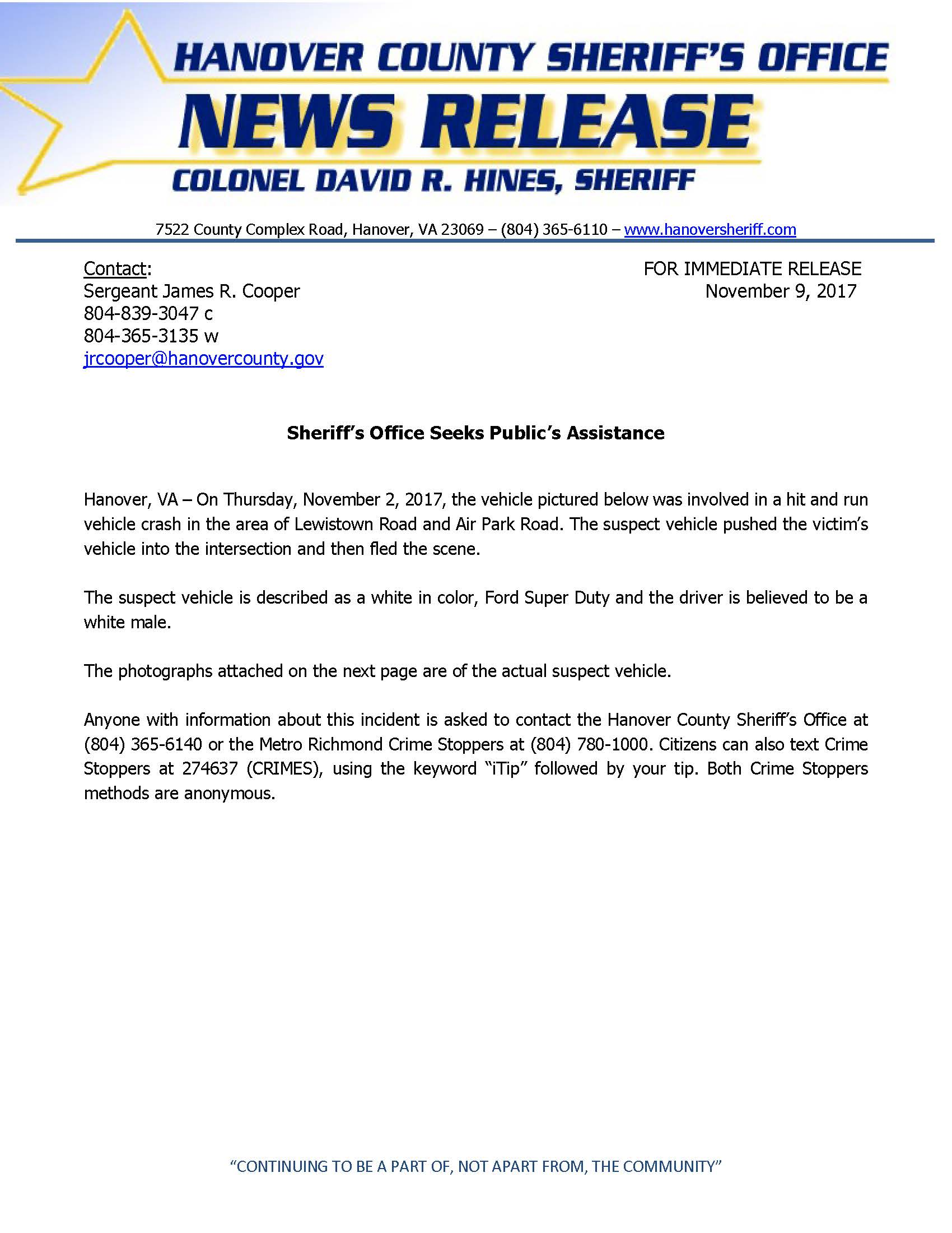 HCSO - Sheriffs Office Seeks Publics Assisitance- Nov. 9, 2017_Page_1