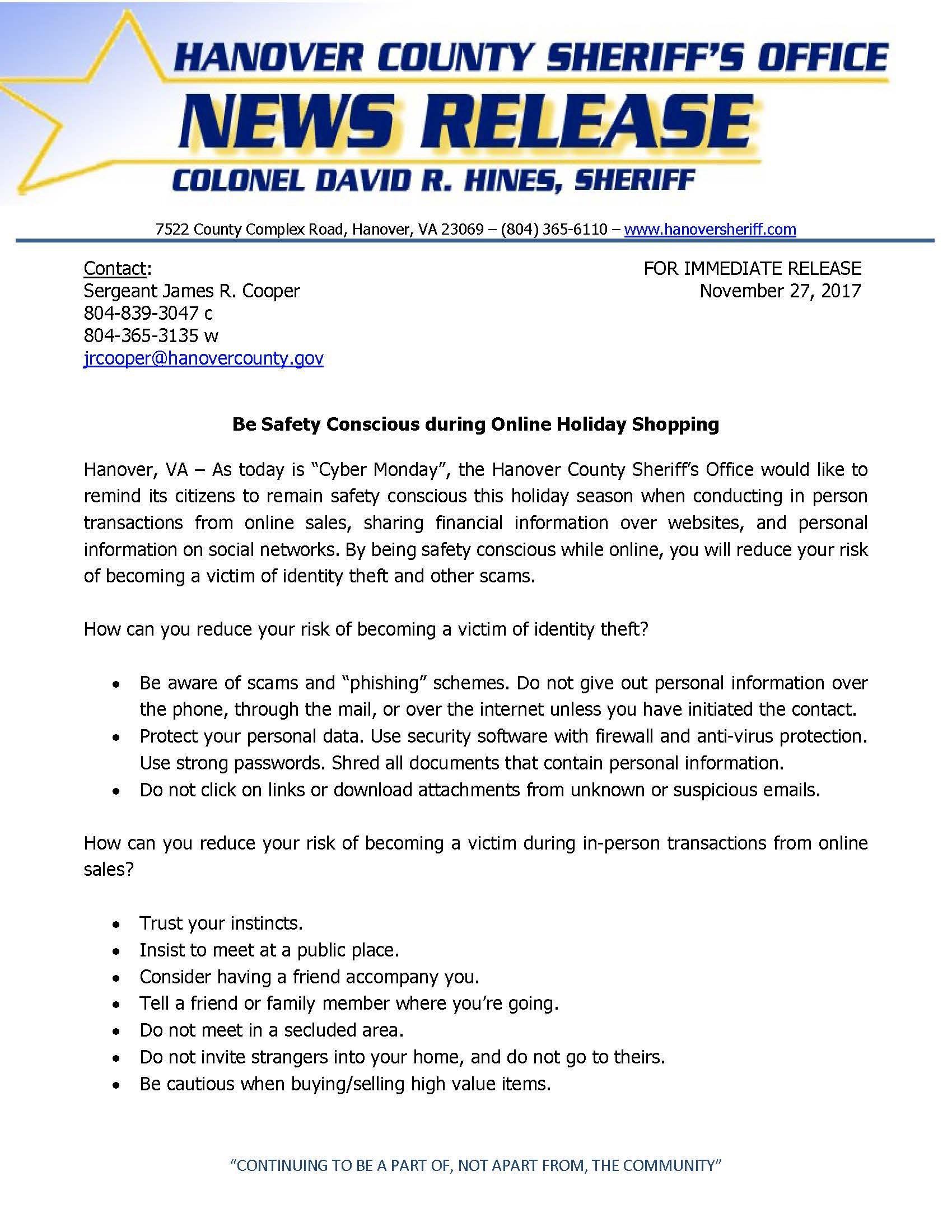 HCSO - Be Safety Conscious During Online Holiday Shopping- Nov. 27, 2017_Page_1