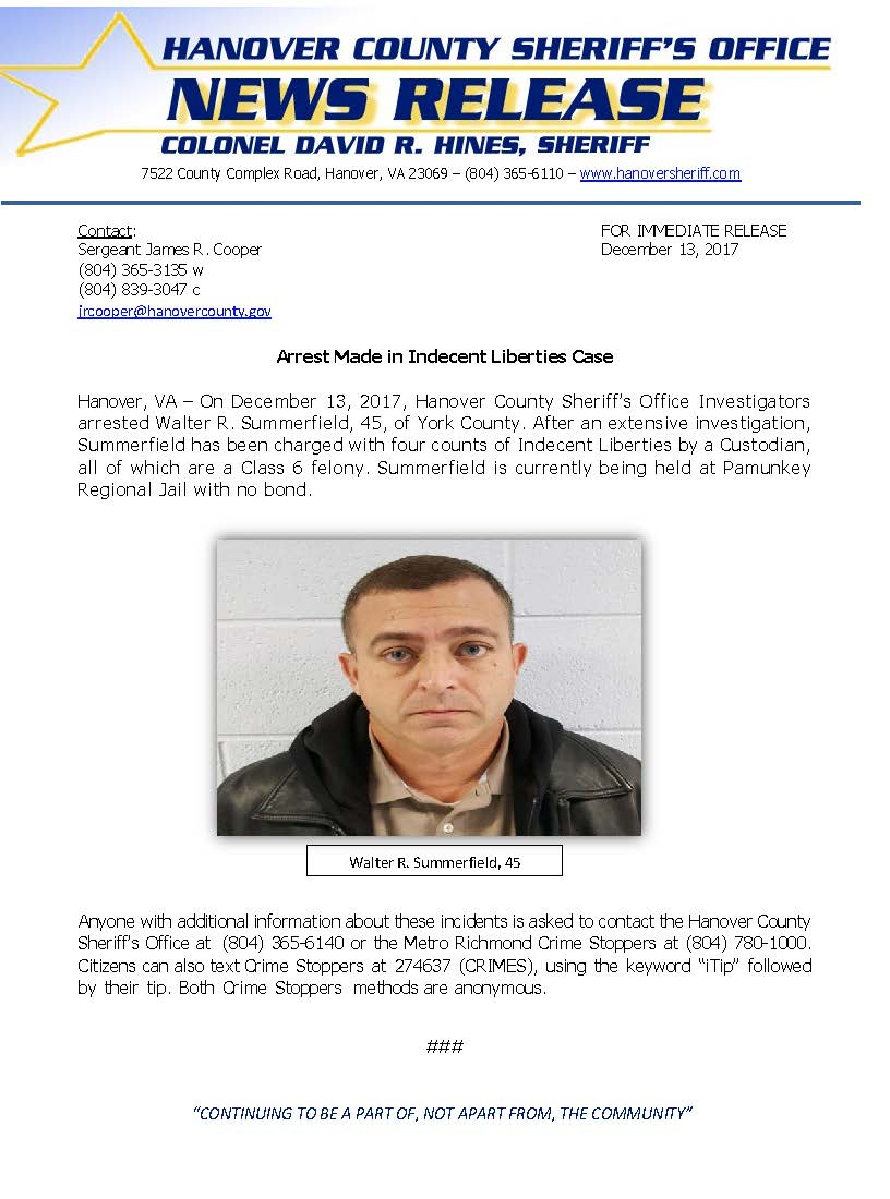 HCSO - Arrest Made in Indecent Liberties Case - December 2017