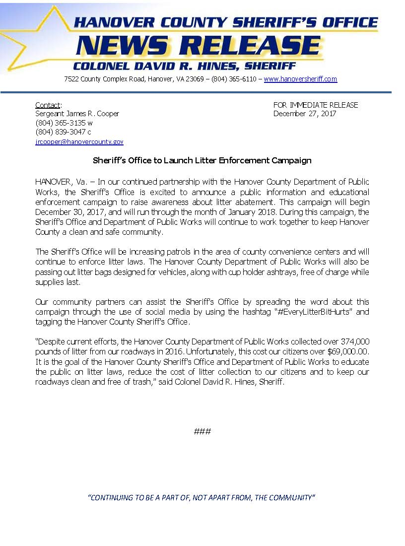 HCSO - Sheriffs Office to Launch Litter Enforcement Campaign-December 2017