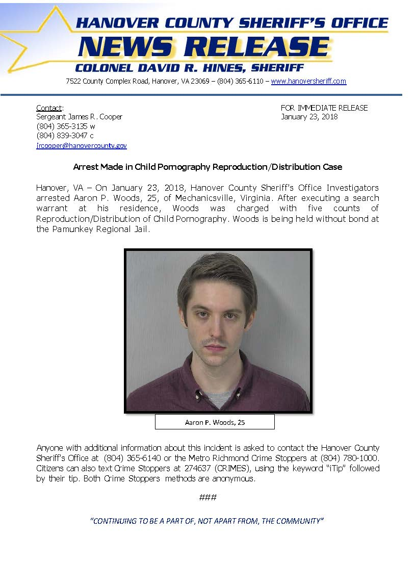 HCSO - Arrest Made in Child Pornography Reproduction-Distribution Case - January 23, 2018
