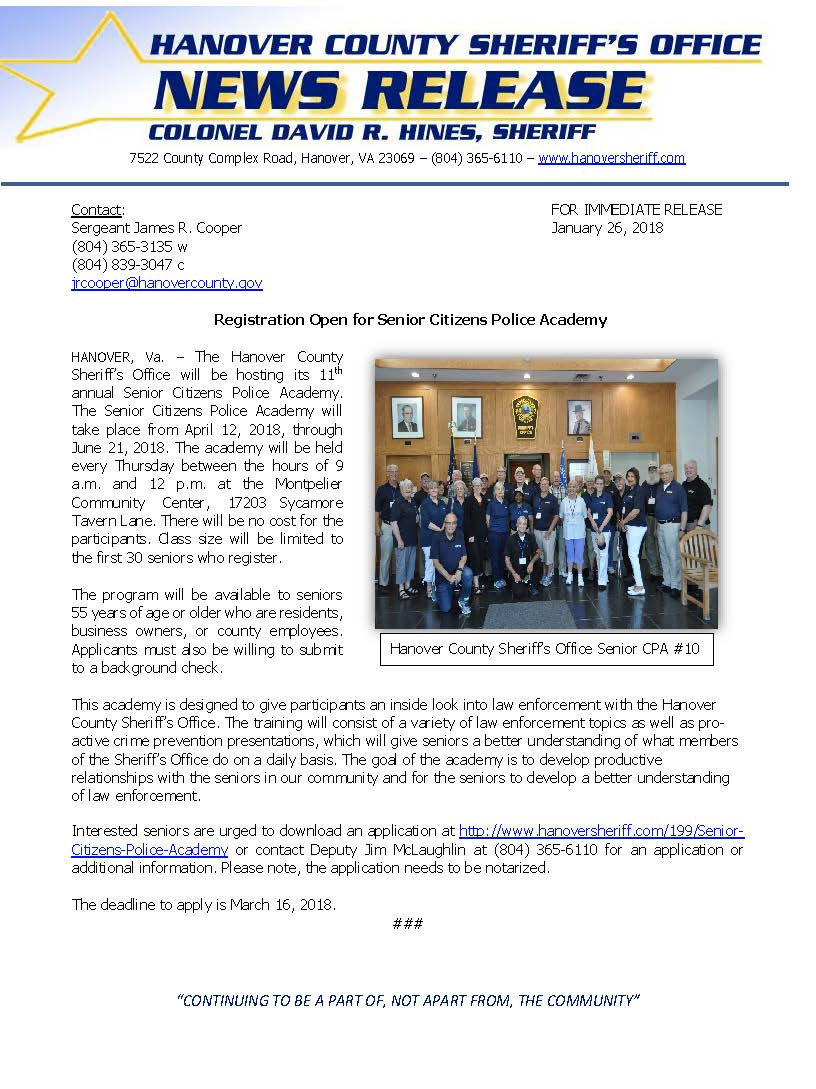 HCSO - Senior Citizens Police Academy- January 2018