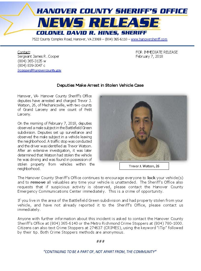 HCSO - Arrest Made in Stolen Vehicle Case- Feb. 7, 2018