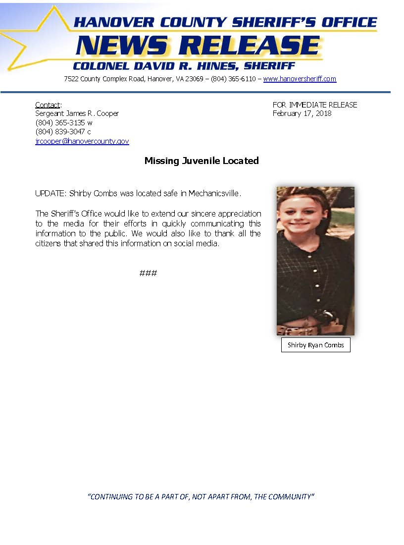 HCSO - Missing Juvenile LOCATED Shirby Combs- Feb. 2018_Page_1