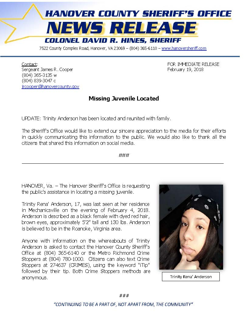 HCSO - Missing Juvenile LOCATED Trinity Anderson- Feb. 2018