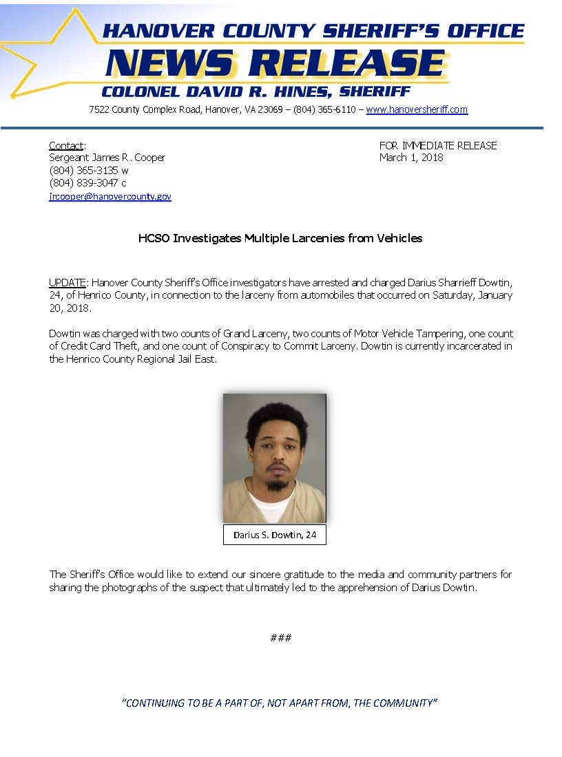 HCSO - Larceny From Vehicles-ARREST MADE- March 1, 2018_Page_1