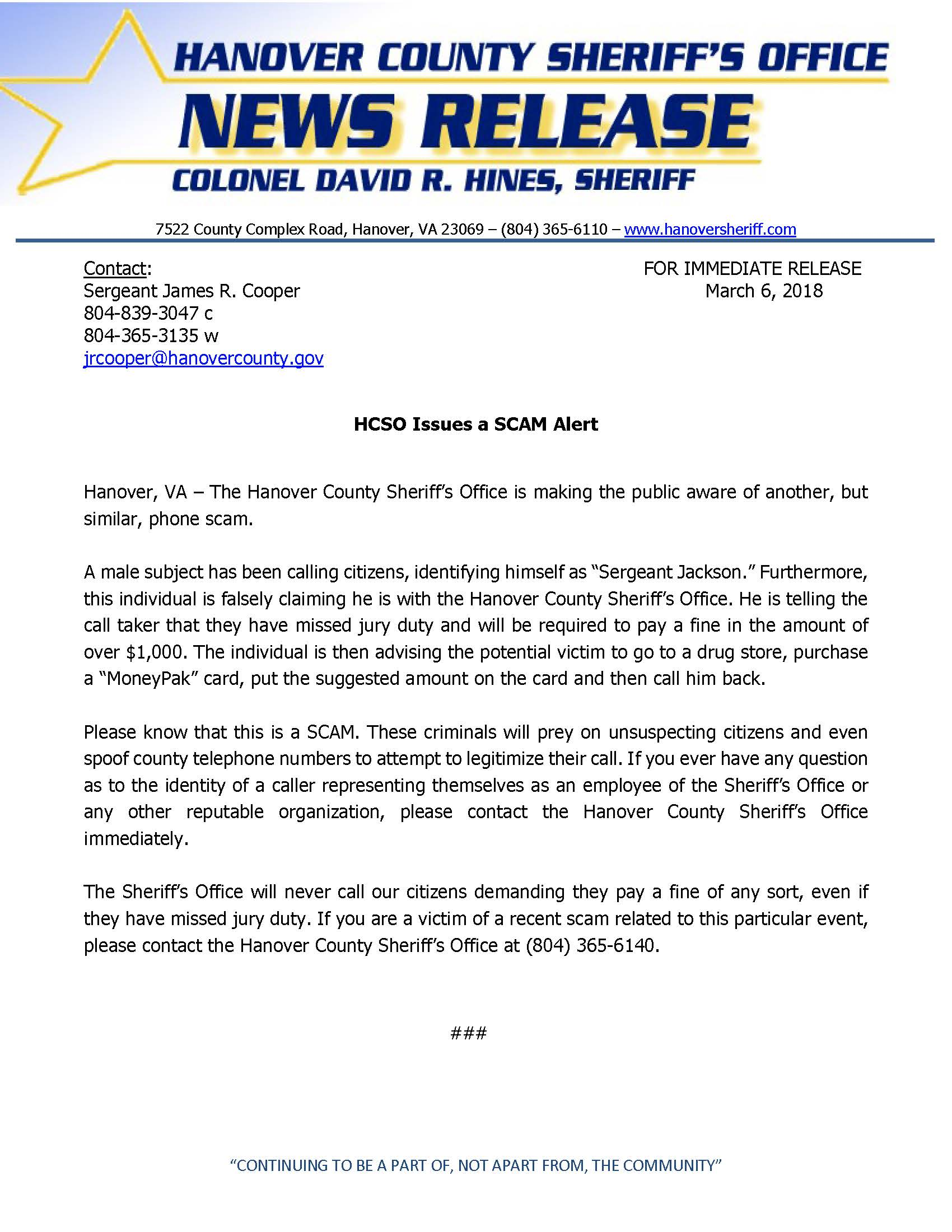 HCSO - HCSO Issues SCAM Alert- March 6, 2018