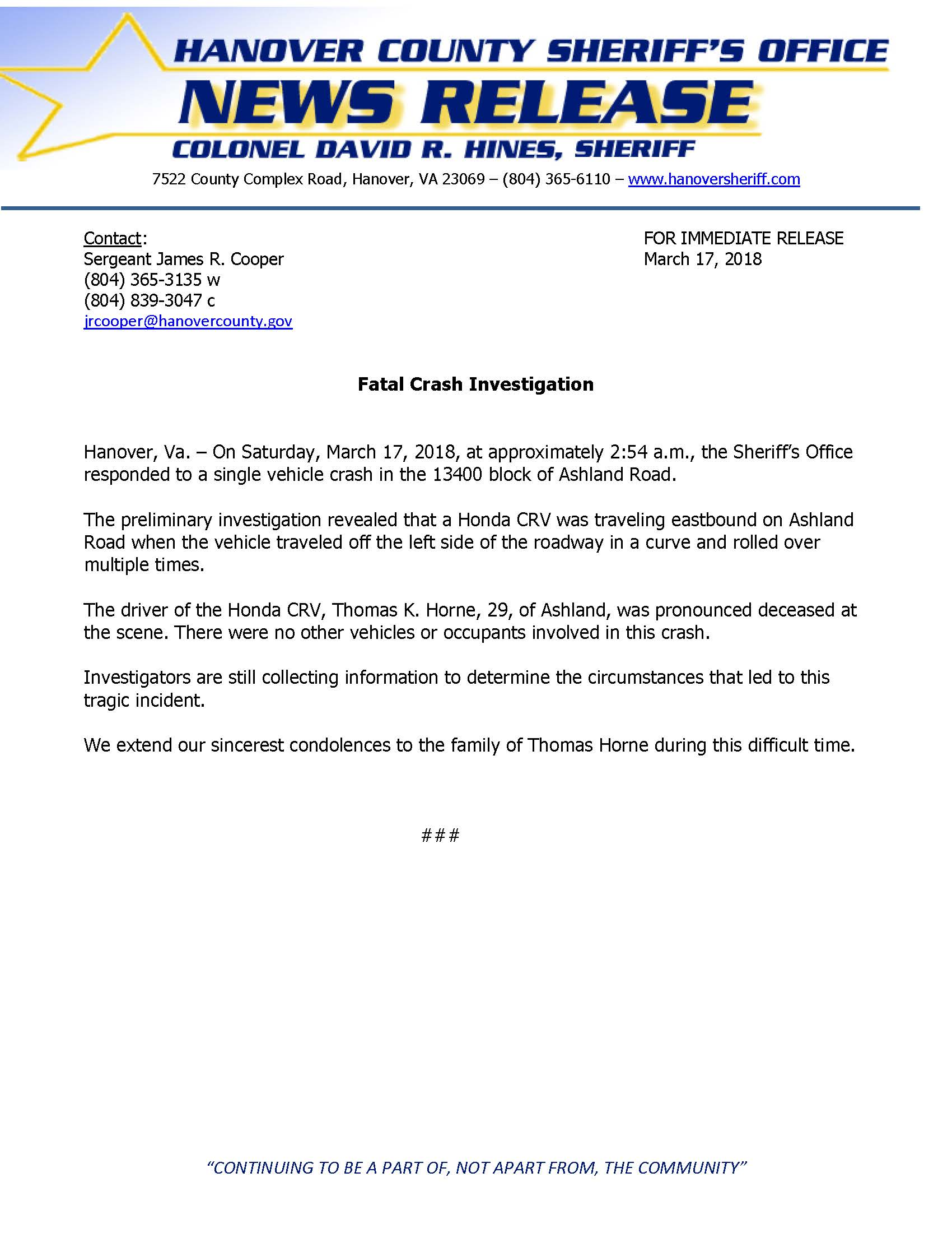 HCSO - Fatal Crash - Ashland Road- March 17, 2018