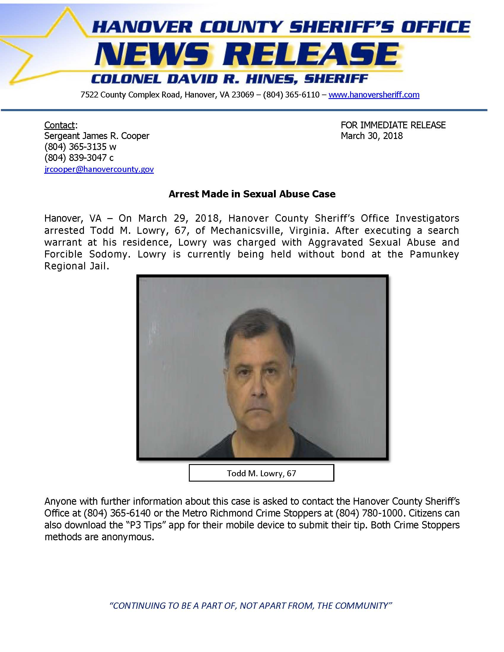 HCSO - Arrest Made in Sexual Abuse Case - March 30 2018