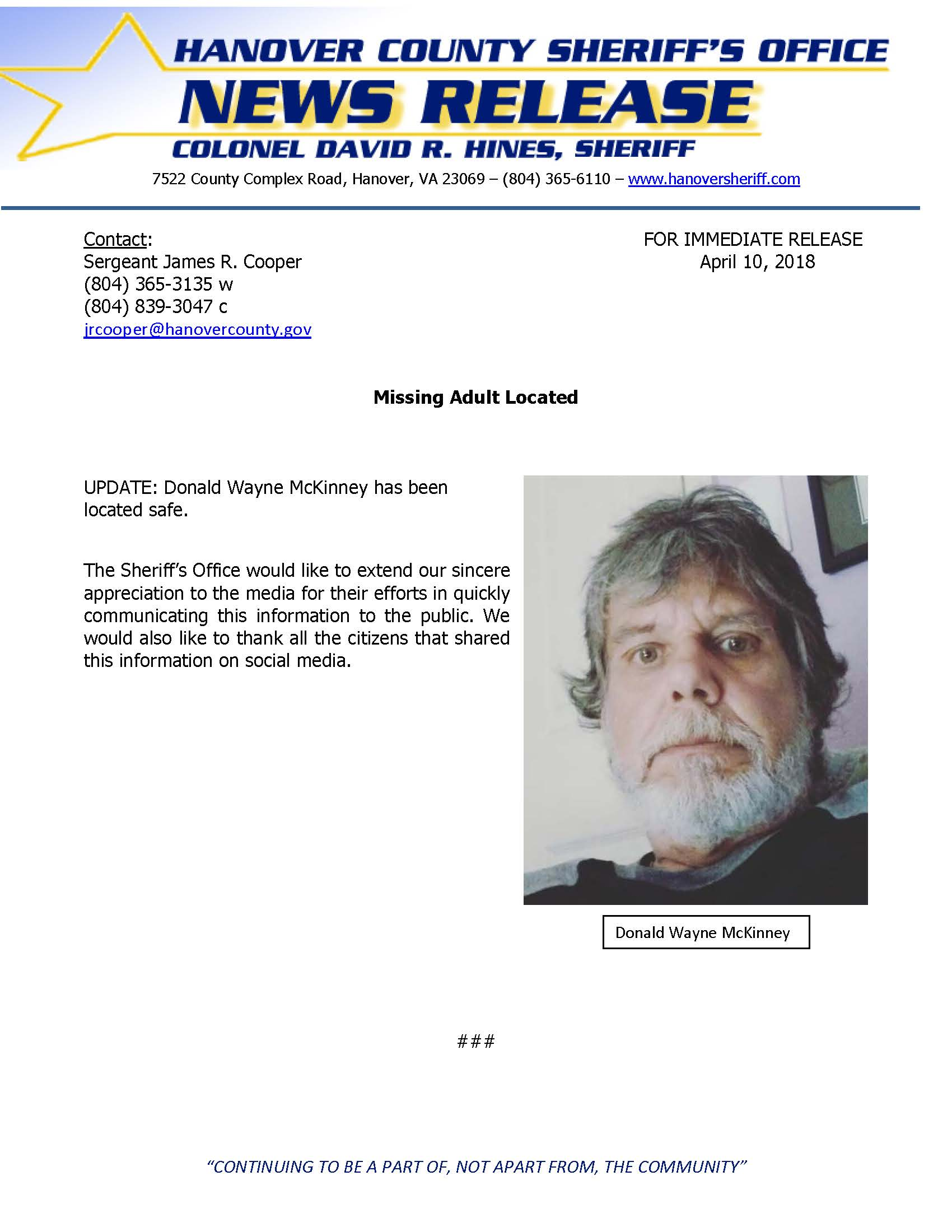 HCSO - Missing Adult LOCATED- Donald McKinney - April 2018