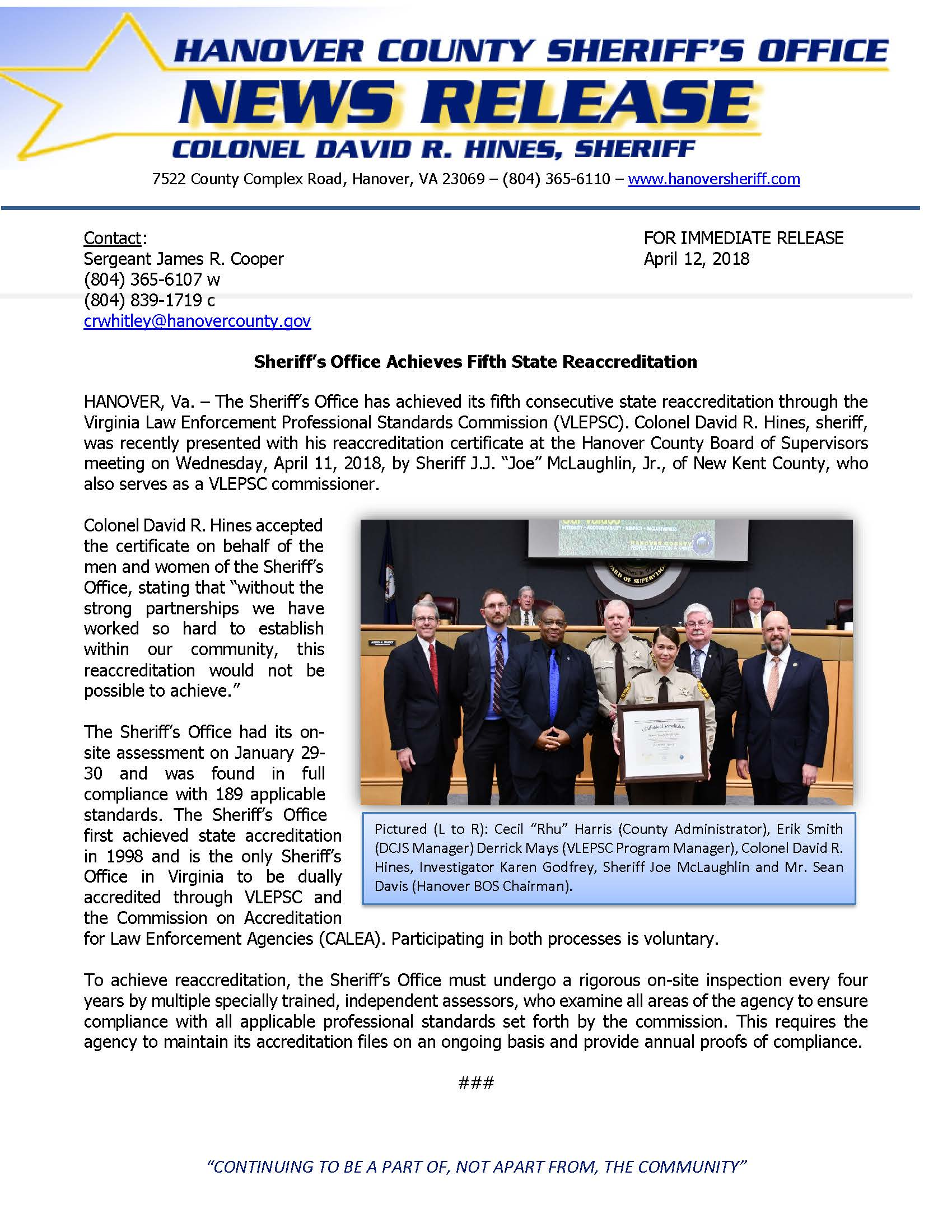 HCSO Achieves State Reaccreditation- April 12, 2018
