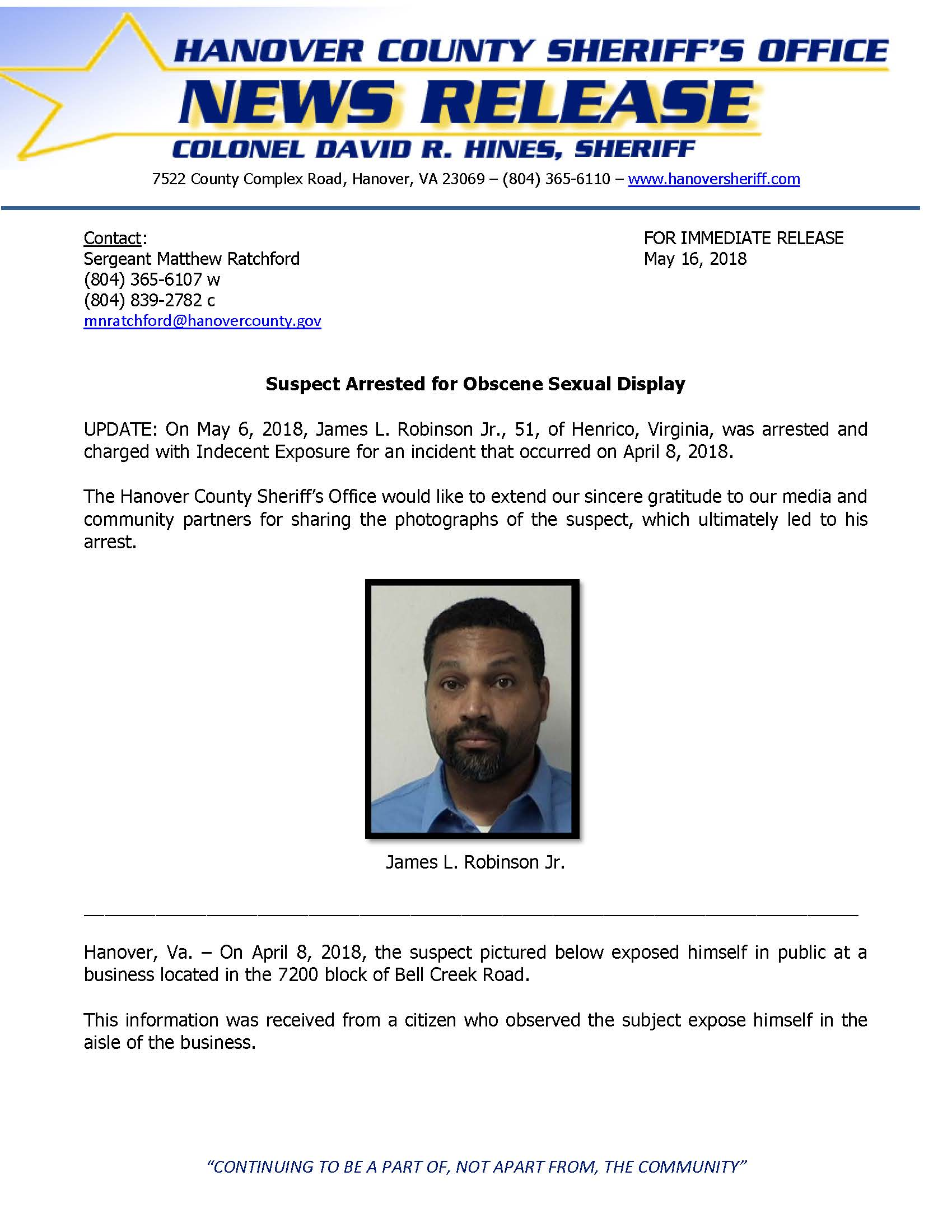 HCSO - Suspect ARRESTED for Obscene Sexual display- May 16, 2018_Page_1