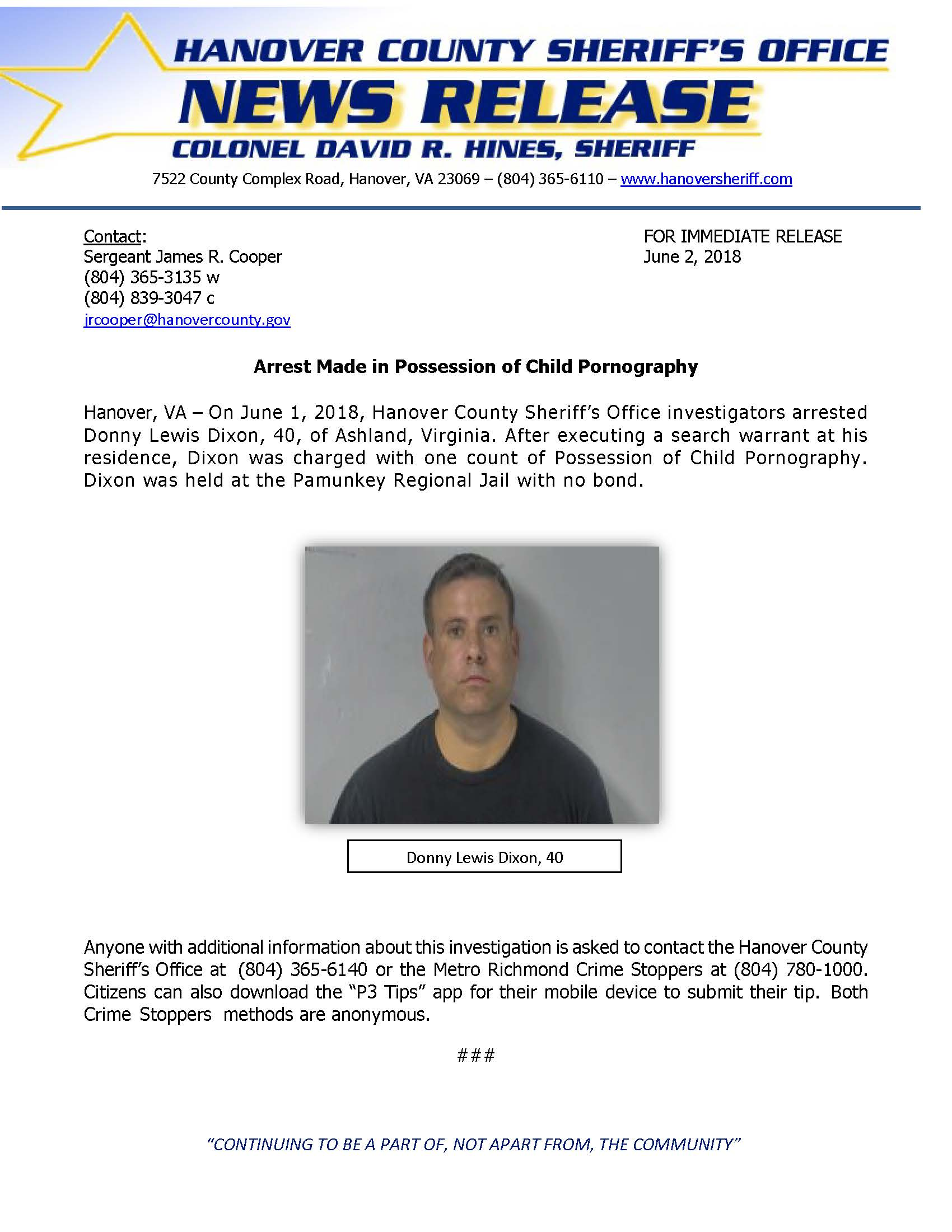 HCSO - Arrest Made in Possession of Child Pornography Case- June 2018-1