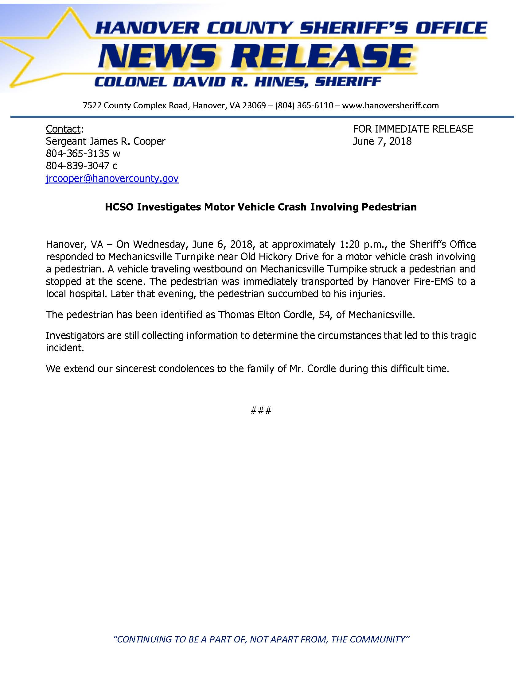HCSO - Motor Vehicle Crash Involving Pedestrian- June 6, 2018