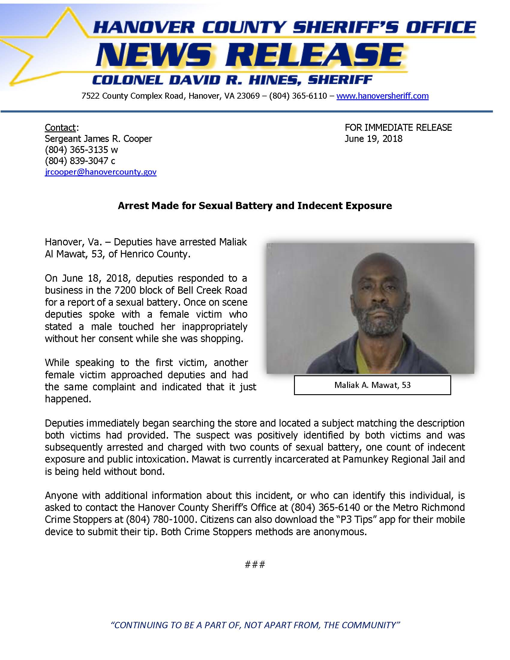 HCSO - Arrest Made for Sexual Battery and Indecent Exposure- June 19, 2018