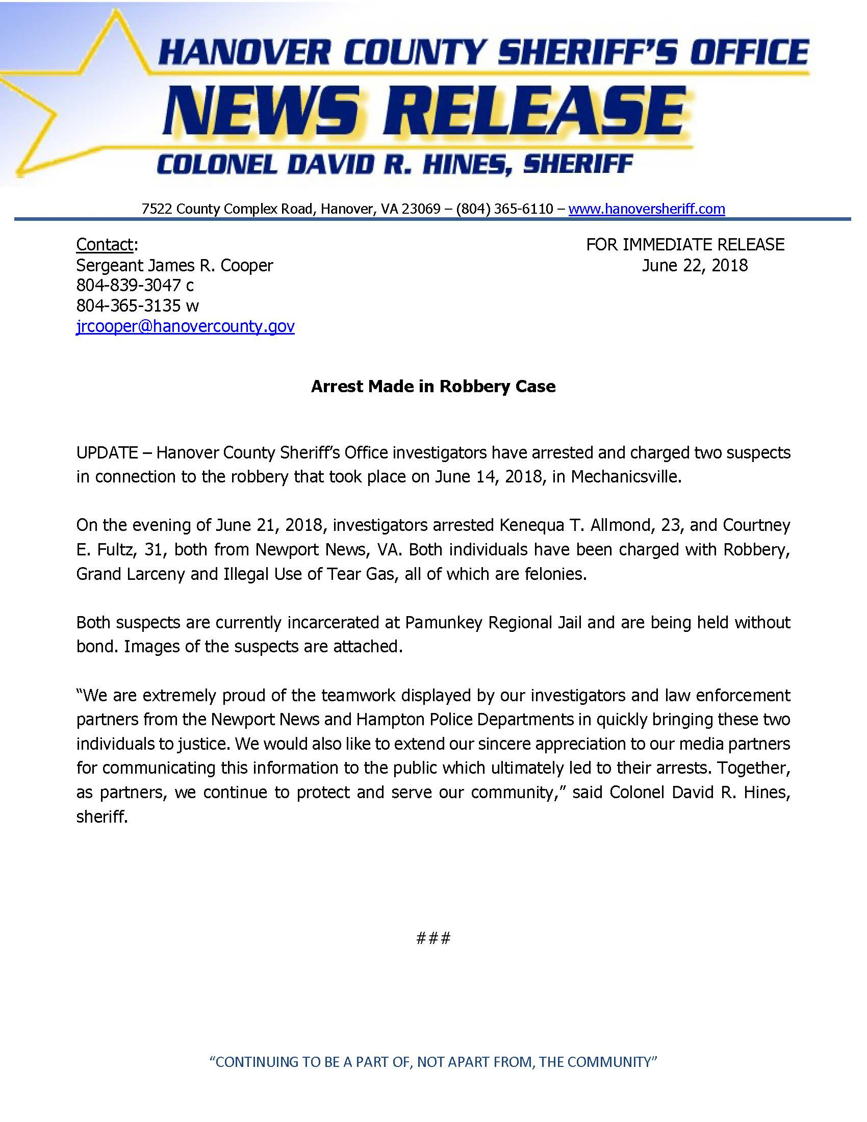 HCSO - UPDATE- Arrest Made in Robbery Case- June 22, 2018_Page_1