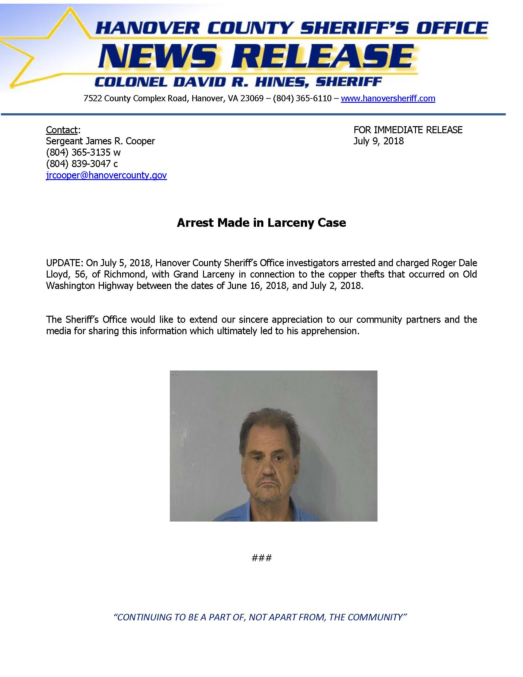 HCSO - Investigators Seek to Identify Larceny Suspect- ARREST MADE- July 3, 2018_Page_1