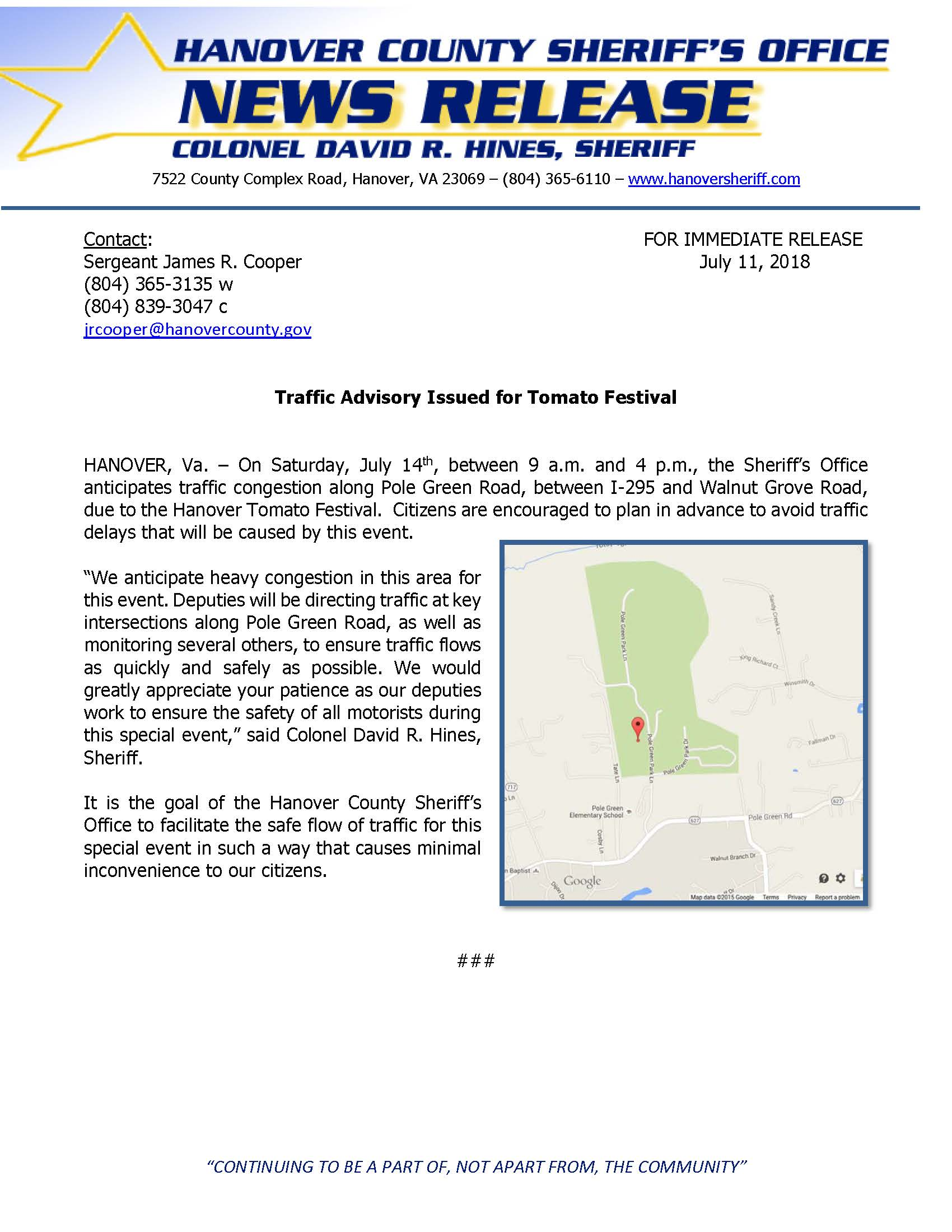 HCSO Issues Traffic Advisory for Tomato Festival 2018.pdf
