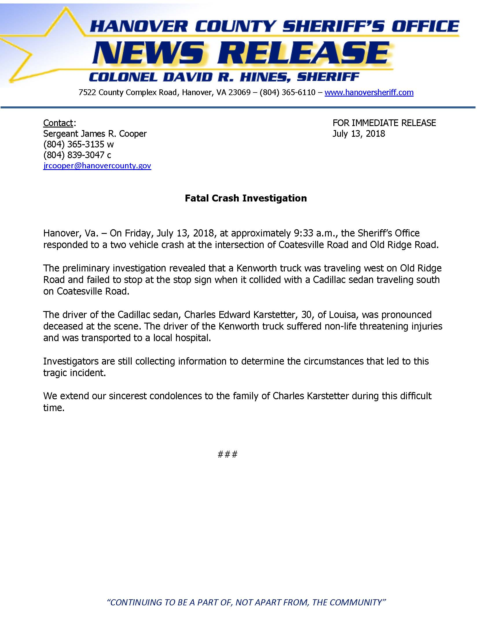HCSO - Fatal Crash - Coatesville Road- July 13, 2018