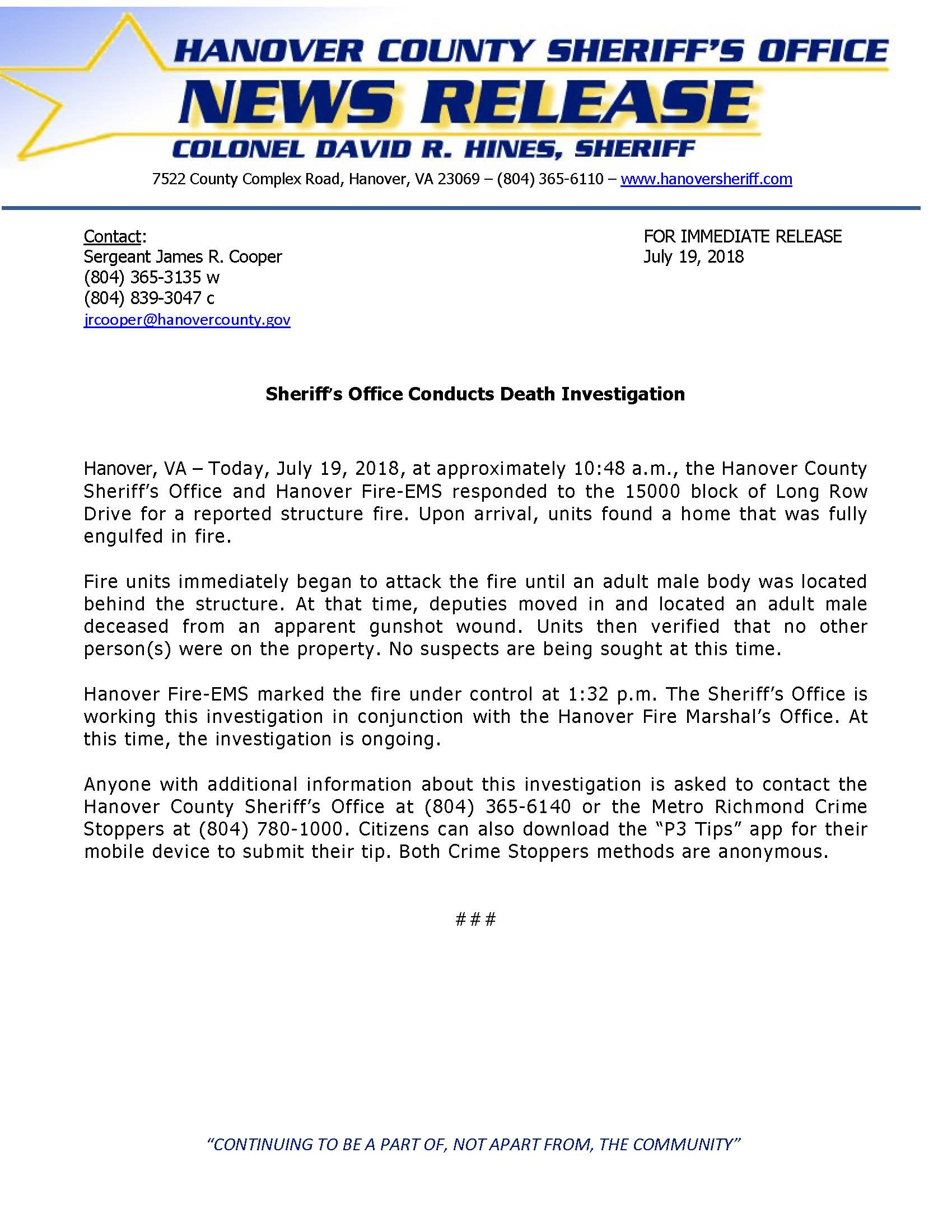 HCSO - Sheriffs Office Conducts Death Investigation- July 19, 2018