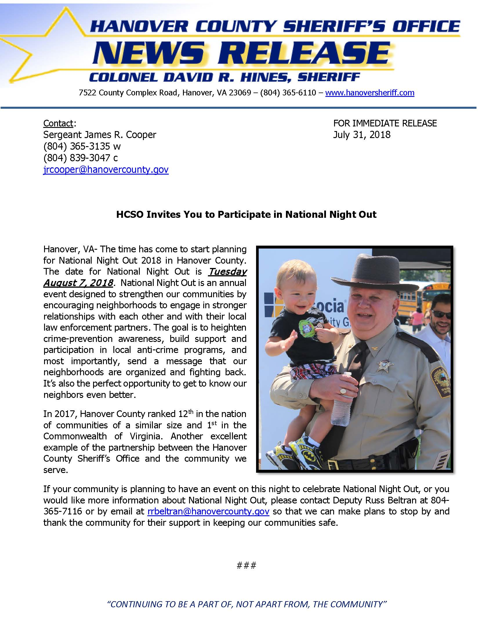 HCSO - National Night Out 2018