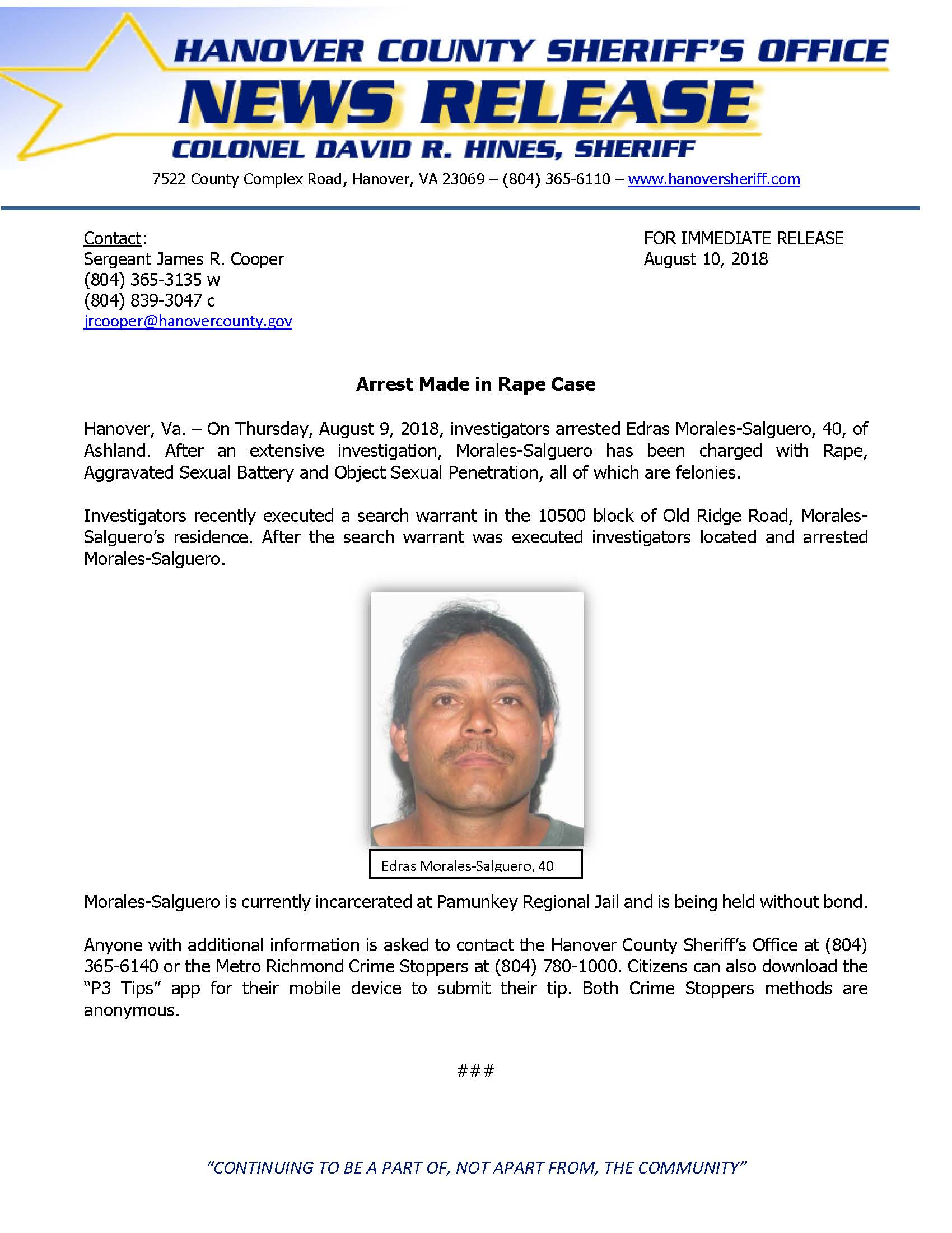 HCSO - Arrest Made in Rape Case- August 10, 2018