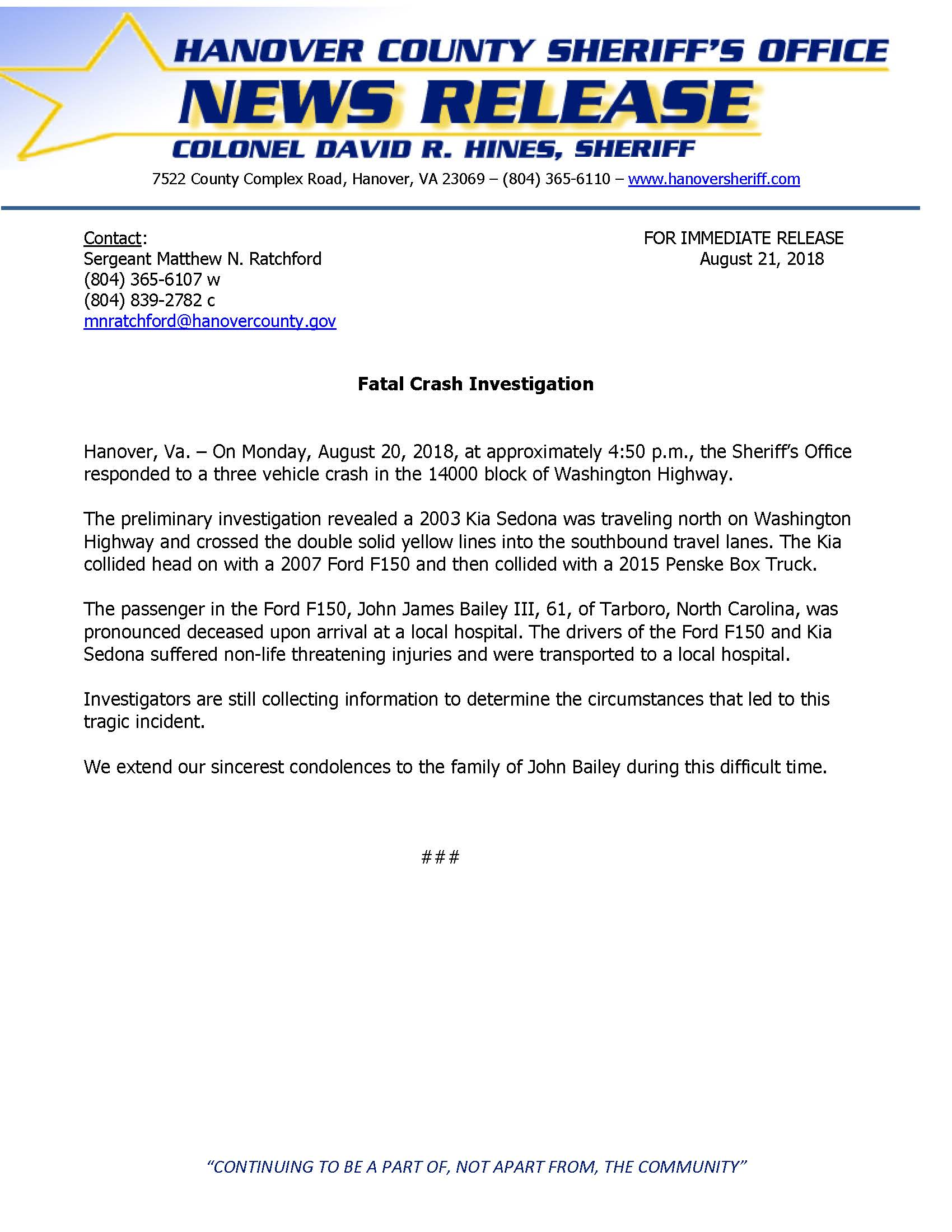 HCSO - Fatal Crash - Washington Highway- August 20, 2018