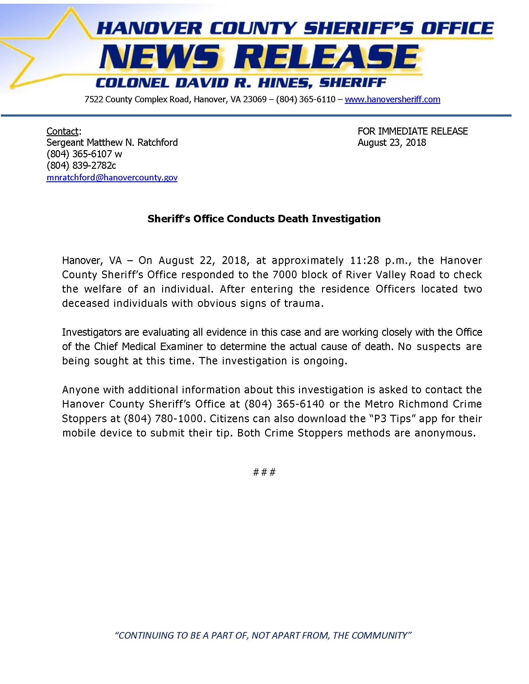 HCSO - Sheriffs Office Conducts Death Investigation- August 22 2018
