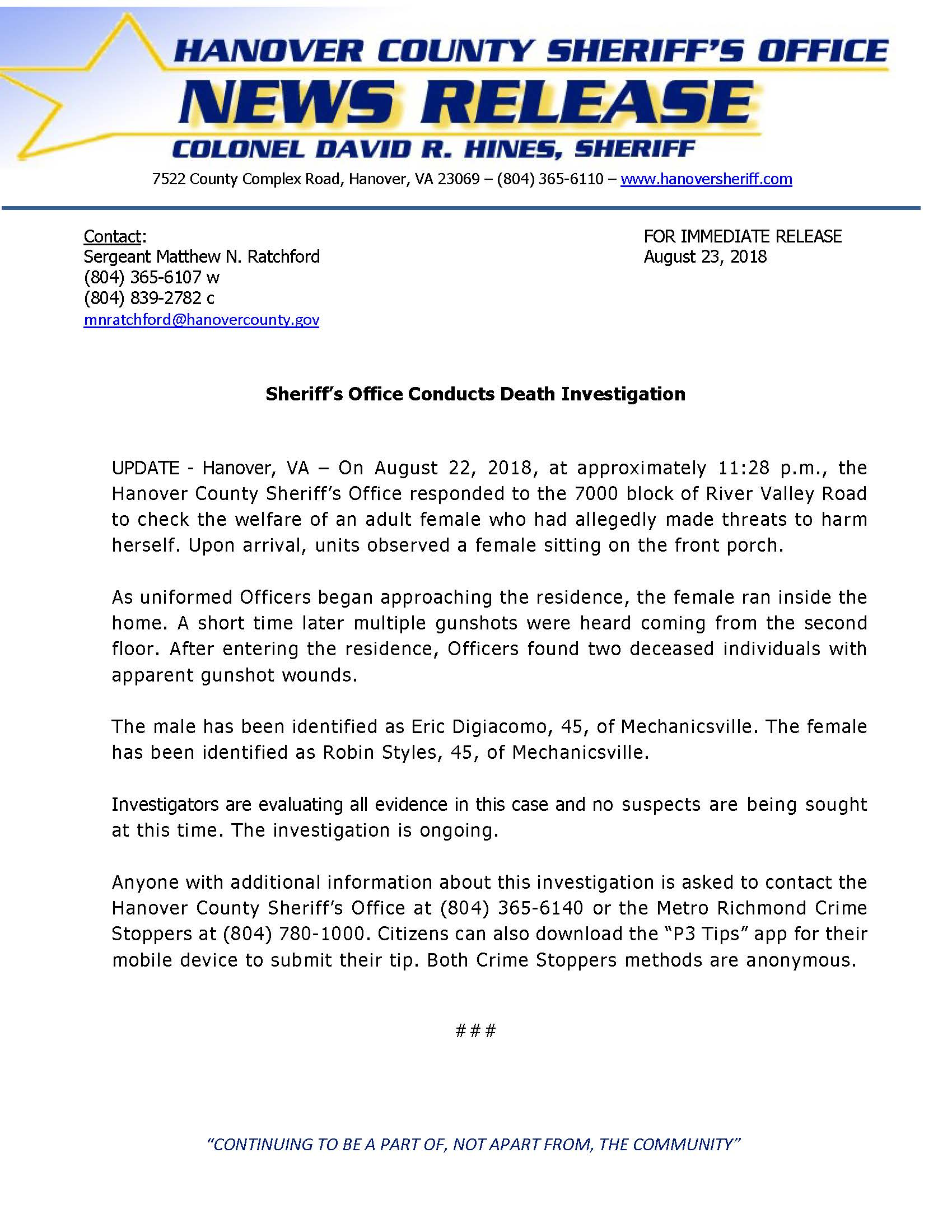 UPDATE - HCSO - Sheriffs Office Conducts Death Investigation- August 22.._